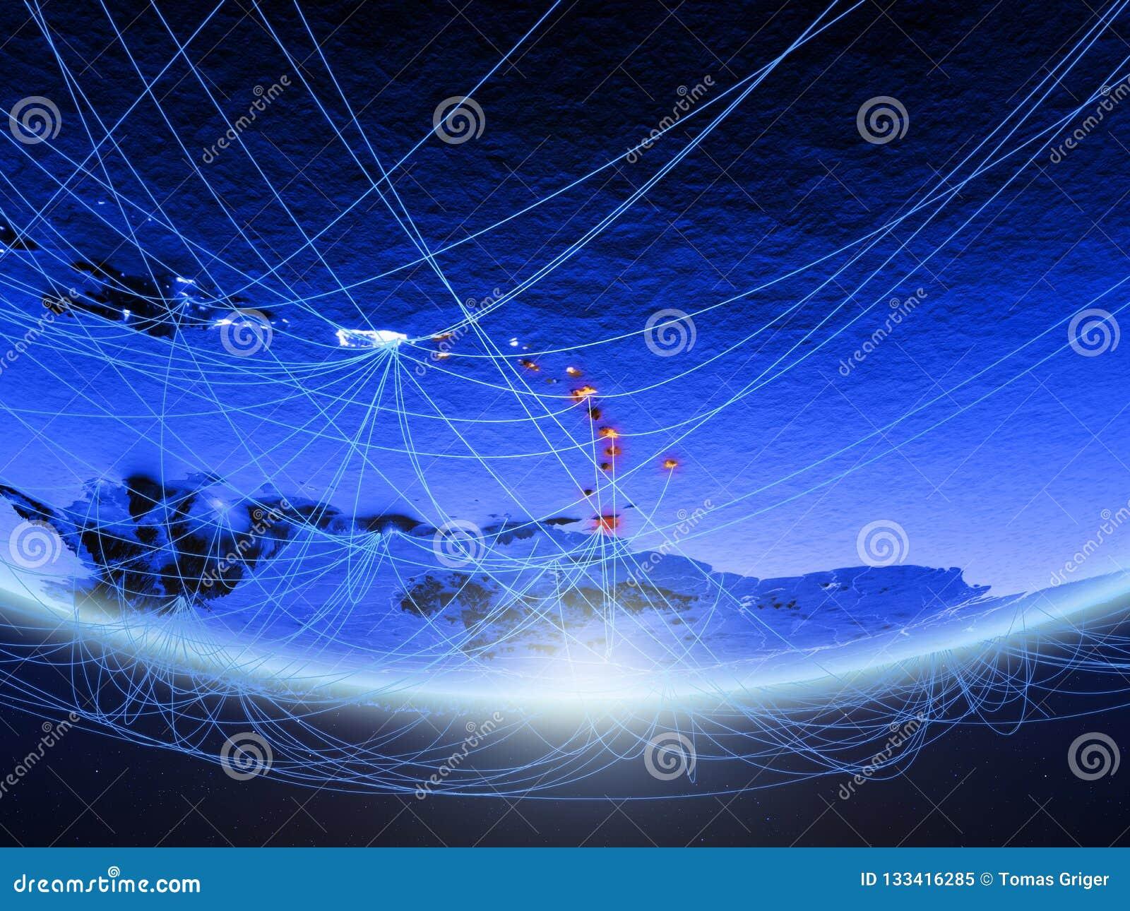 Karibische Meere vom Raum mit Netz