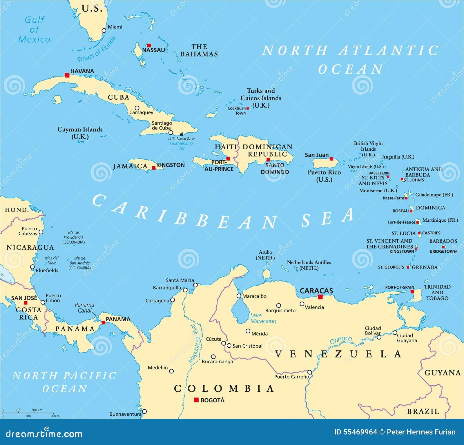 Karibik Karte Deutsch.Karibische Politische Karte Vektor Abbildung Illustration Von