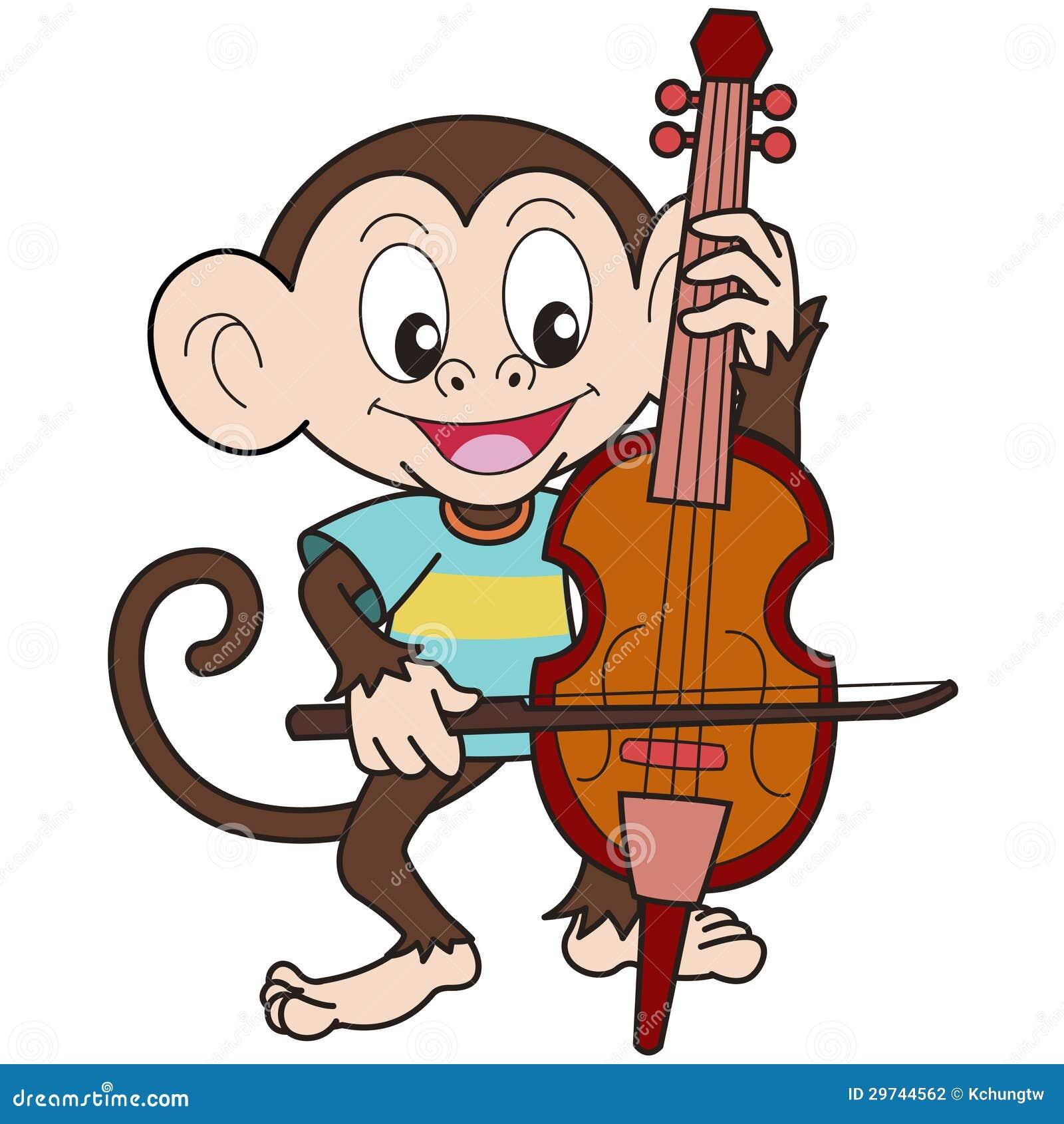 Karikatur affe der ein cello spielt stockfotografie