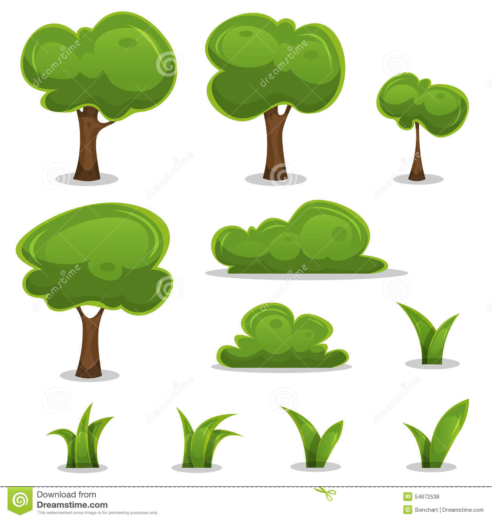 Karikatur-Bäume, Hecken Und Gras-Blätter Eingestellt Vektor ...