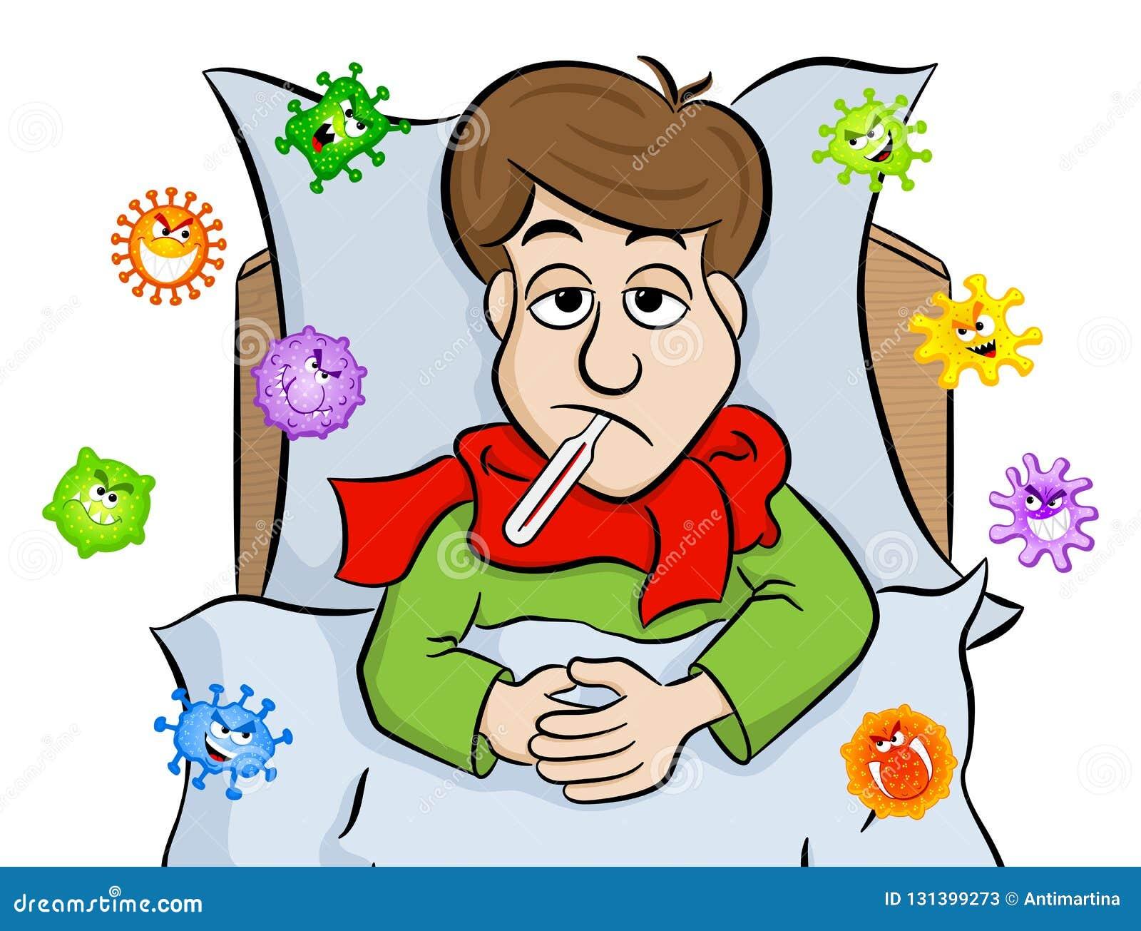 Karikatur bemannen das Lügen im Bett mit Fieber und werden durch Viren umgeben