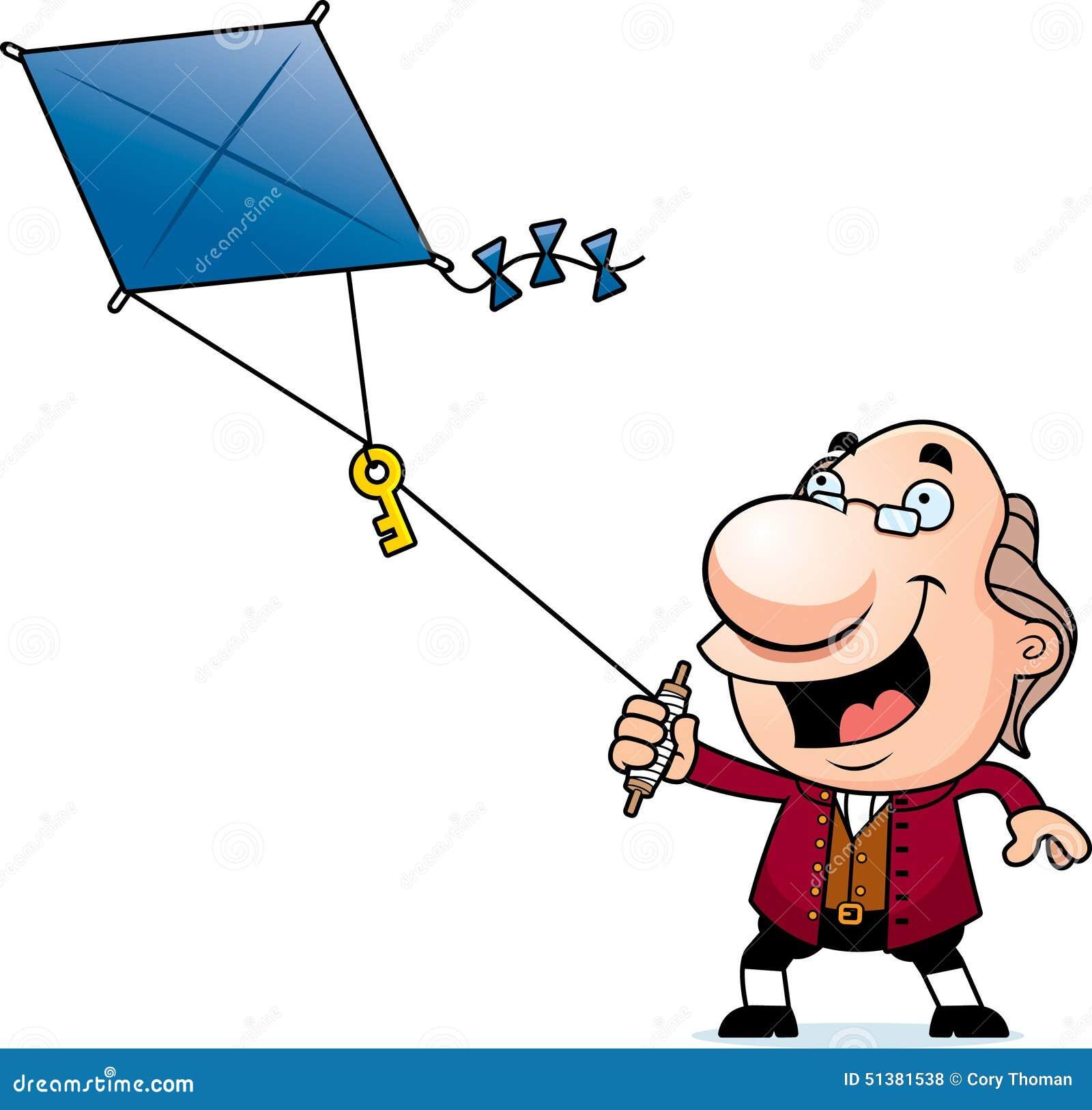 Karikatur Ben Franklin Kite