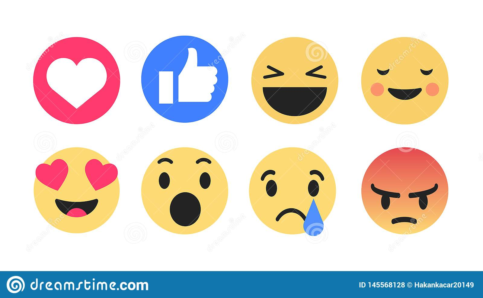 Karikatur-Blase Emoticons des Vektors der hohen Qualität 3d plaudern runde gelbe für Social Media Kommentarreaktionen, Ikonenscha
