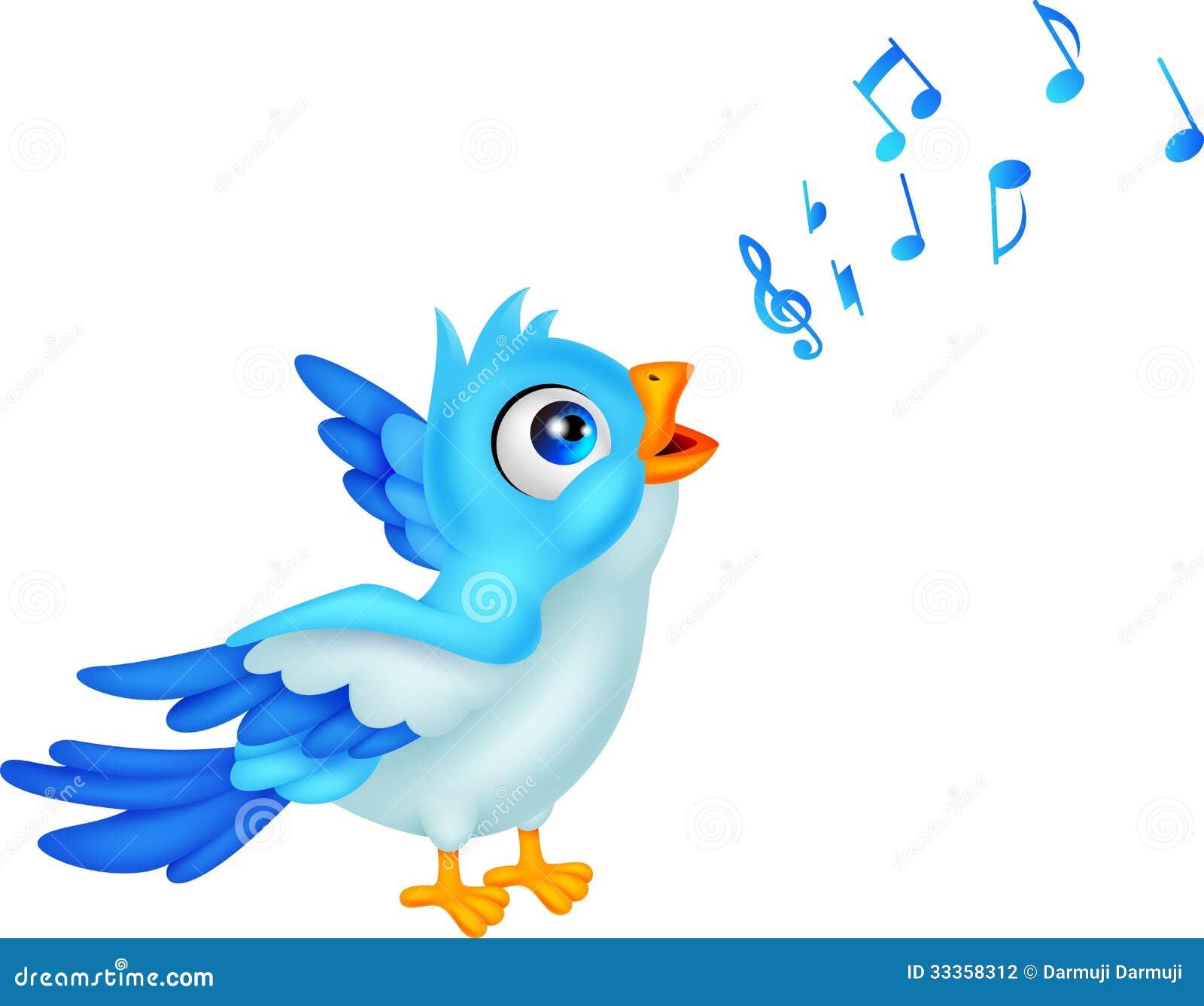 Karikatur-blauer Vogel singen