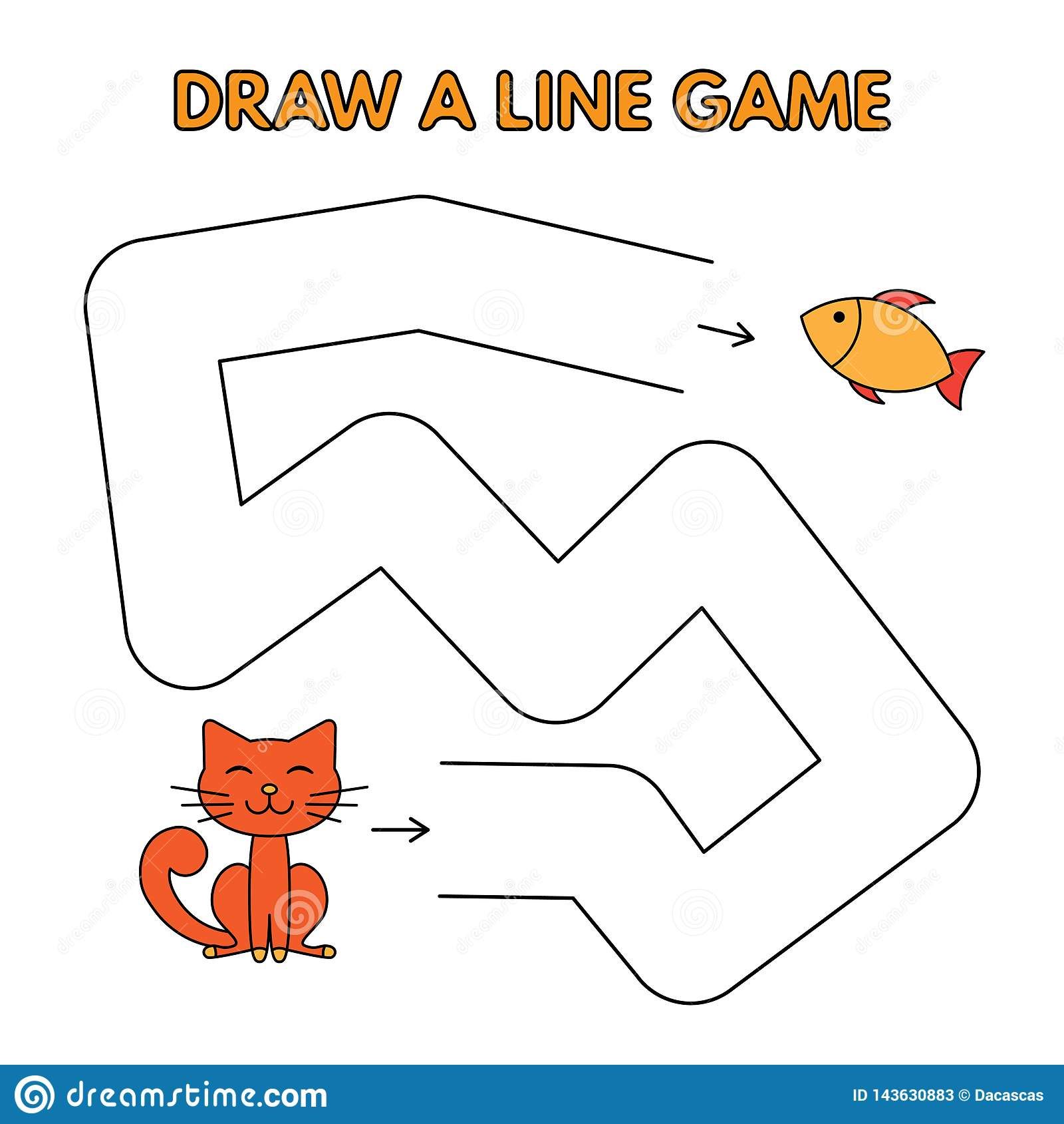 Karikatur Cat Draw eine Linie Spiel für Kinder