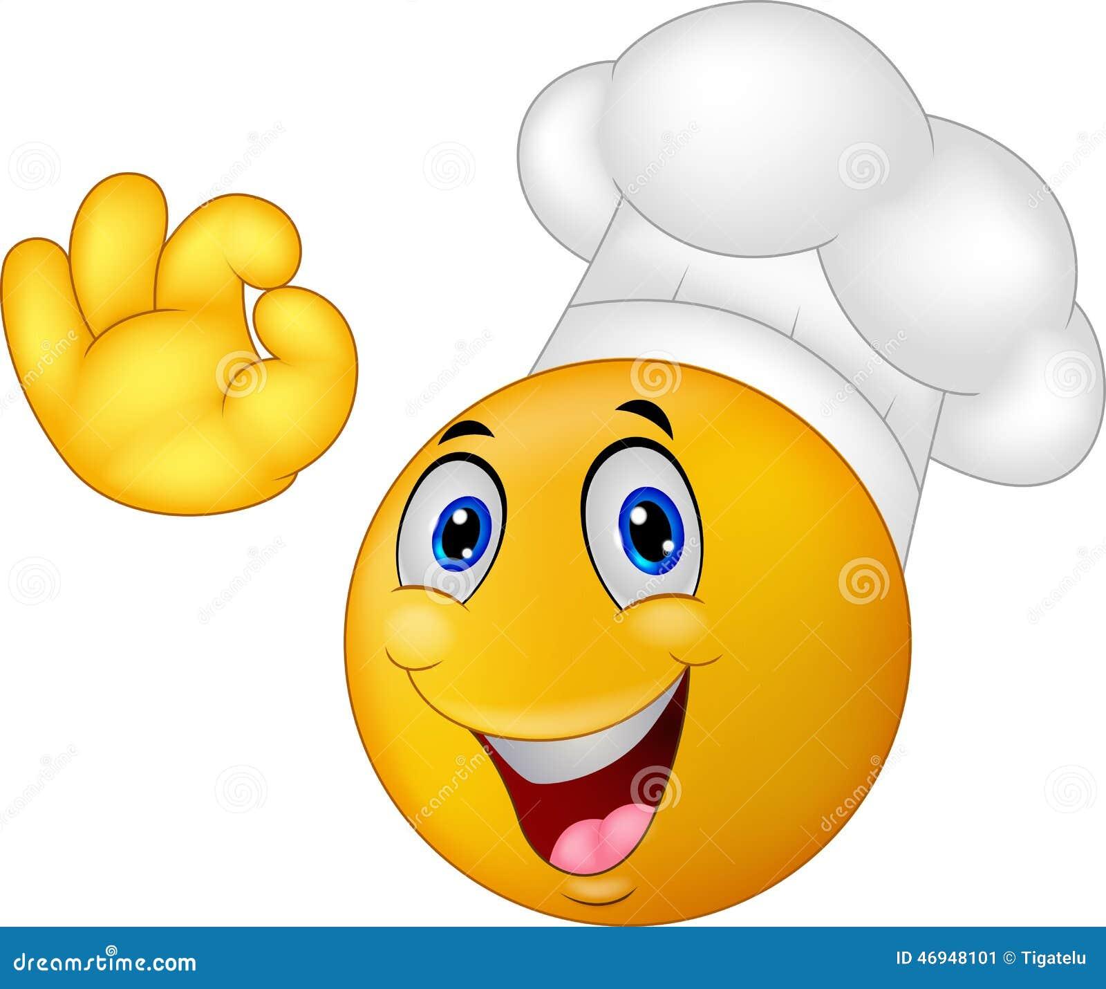 Karikatur-Chefsmiley Emoticon Vektor Abbildung - Illustration von chef, kulinarisch: 46948101