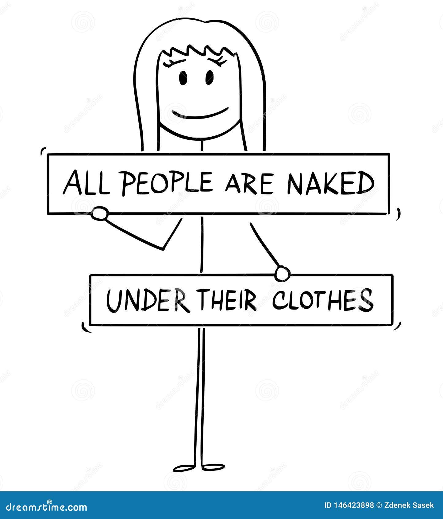 Karikatur der nackten Frau mit den Brüsten, die Leiste, Gabelung oder Genitalien, die von allen Leuten bedeckt werden, sind unter