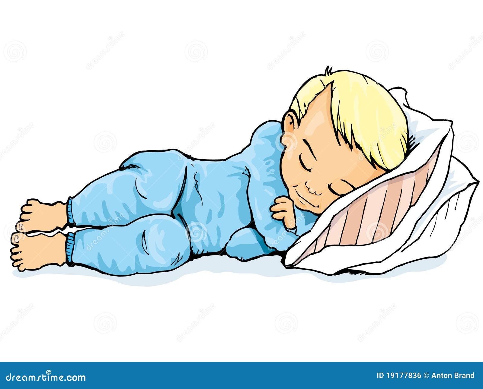 Karikatur Des Kleinen Jungen Schlafend Auf Einem Kissen