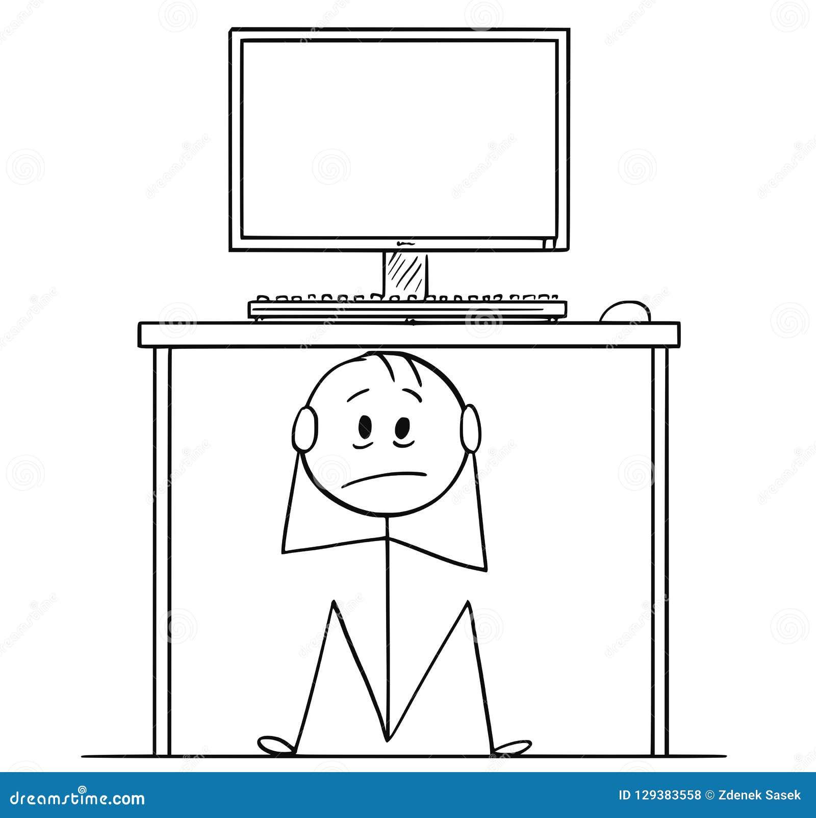 Karikatur des Mann-oder Geschäftsmann-Sitting Hidden Under-Schreibtisches mit Computer