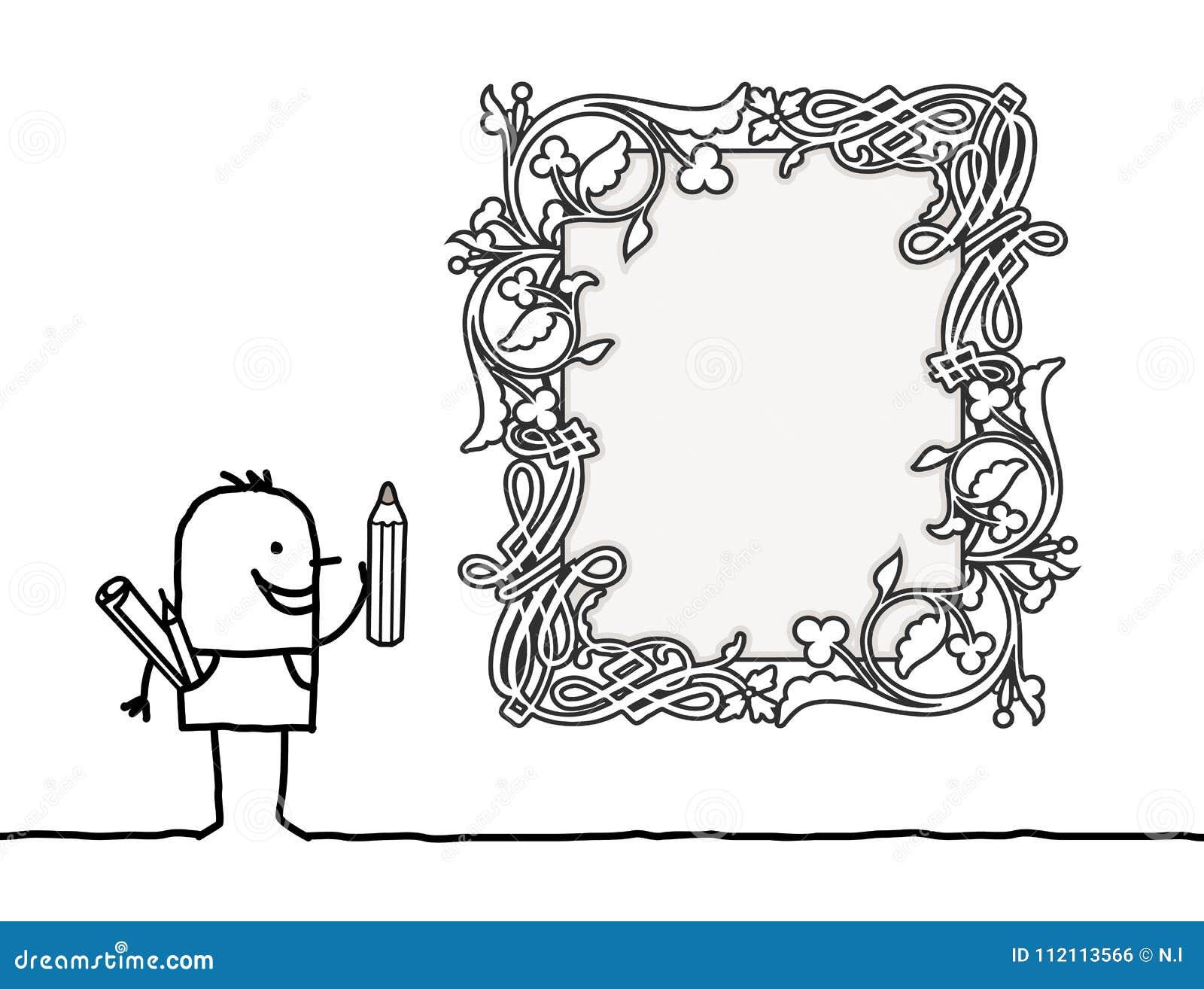 Karikatur-Designer Drawing Ein Rahmen Des Weinlese-Art-freien Raumes ...
