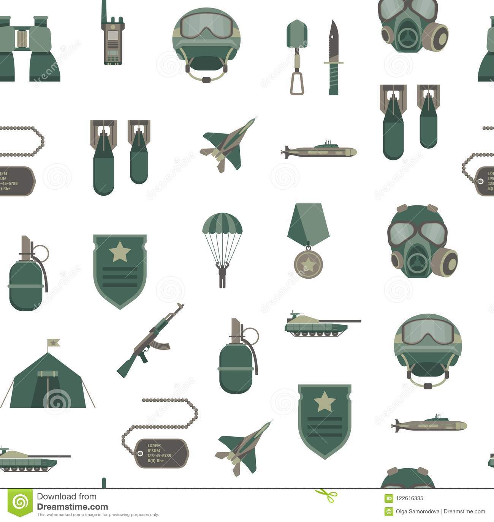 Karikatur-Farbarmee-Waffen-nahtloser Muster-Hintergrund Vektor