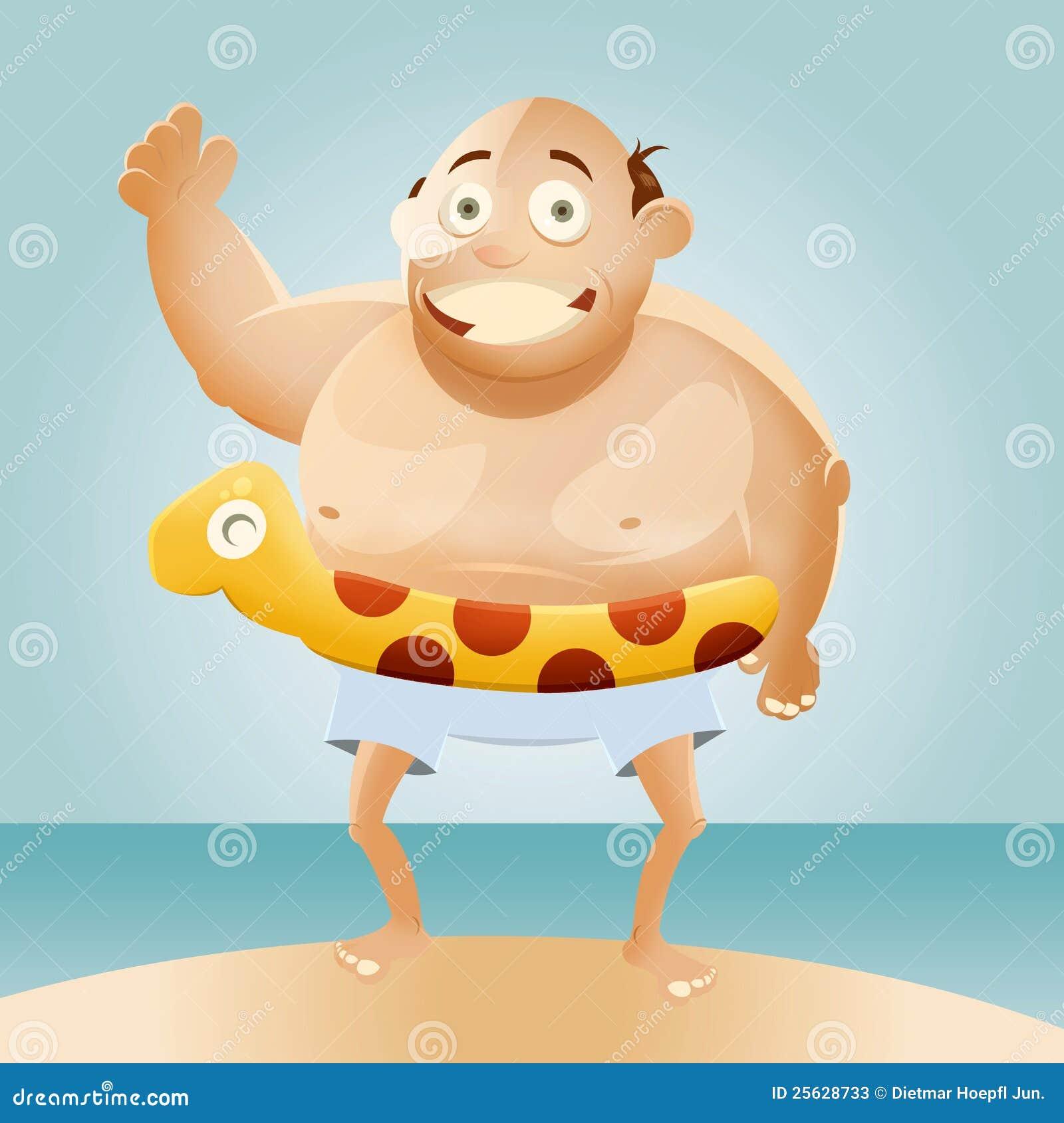 Karikatur-fetter Mann auf Strand