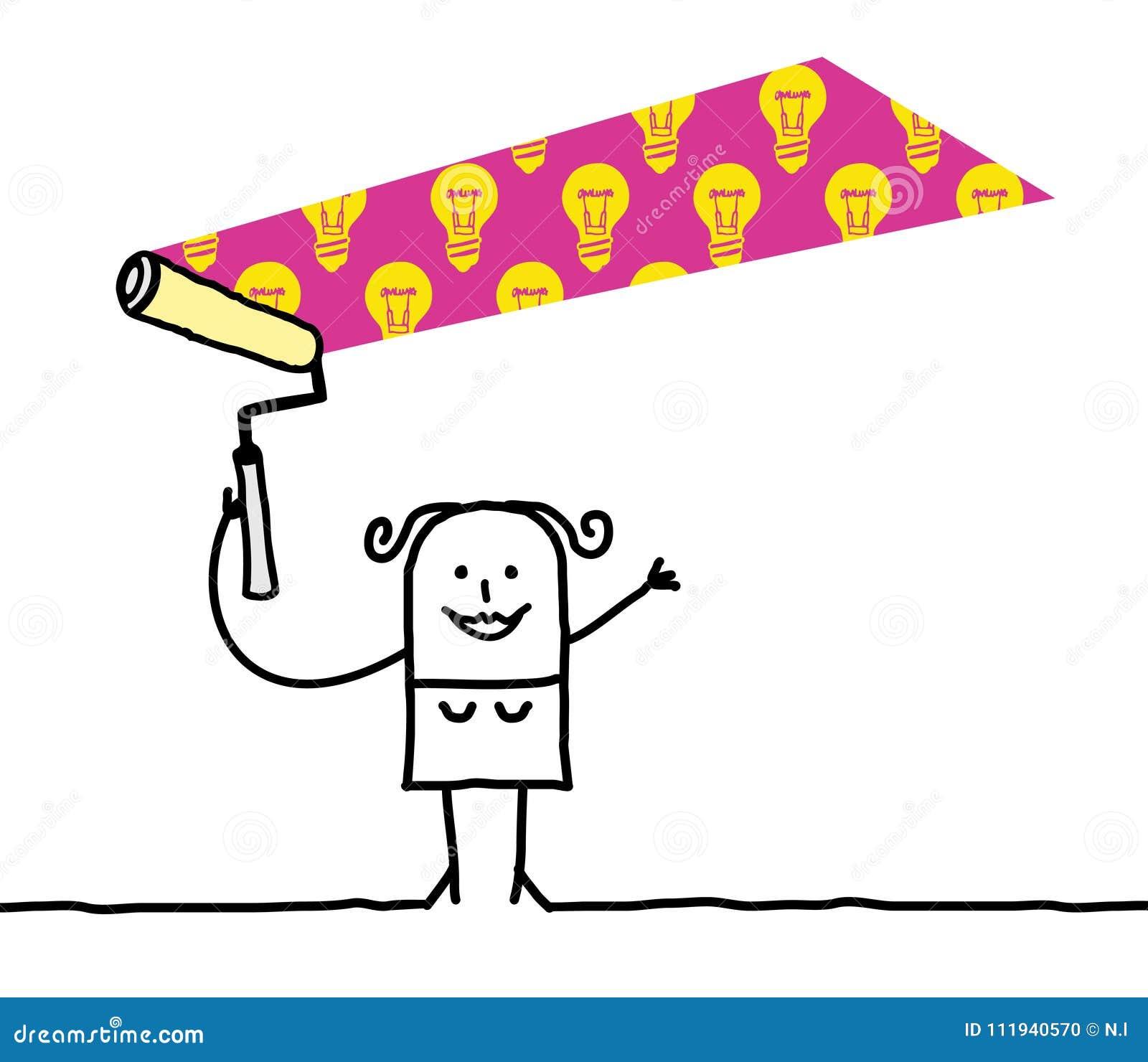 Karikatur-Frau, die ein helles BulbsPattern malt