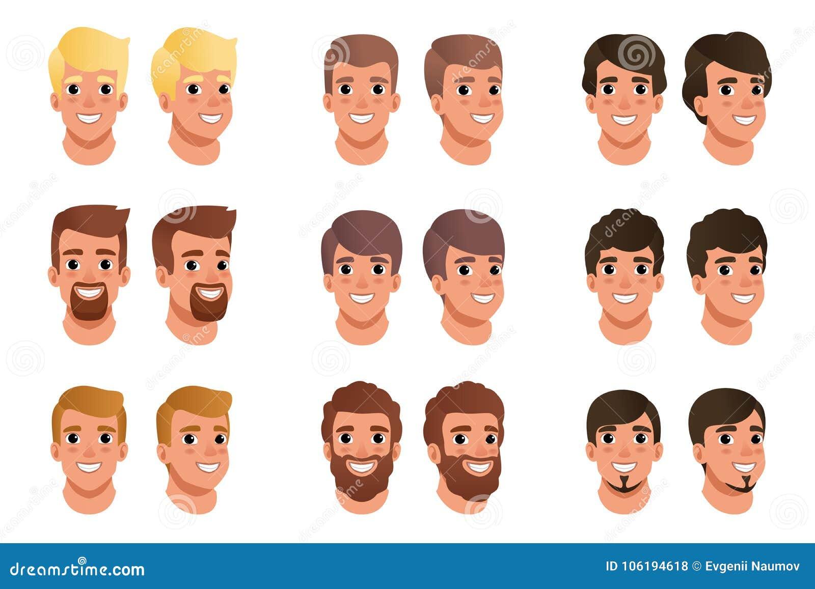 Karikatur Gelegt Von Den Mannavataras Mit Verschiedenen Frisuren
