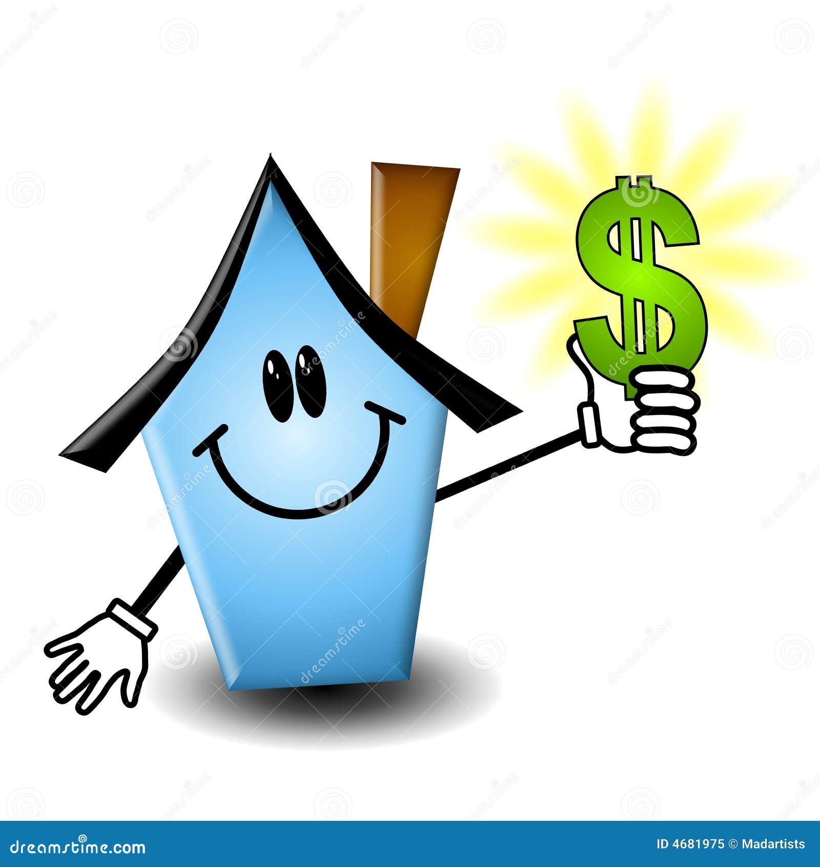 Karikatur-Haus-Holding-Geld