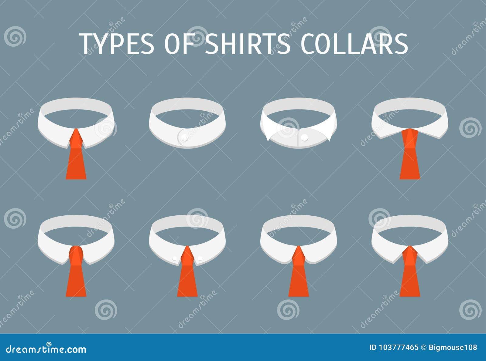 Karikatur-Hemd-Kragen-verschiedene Arten Ikonen Eingestellt Vektor ...