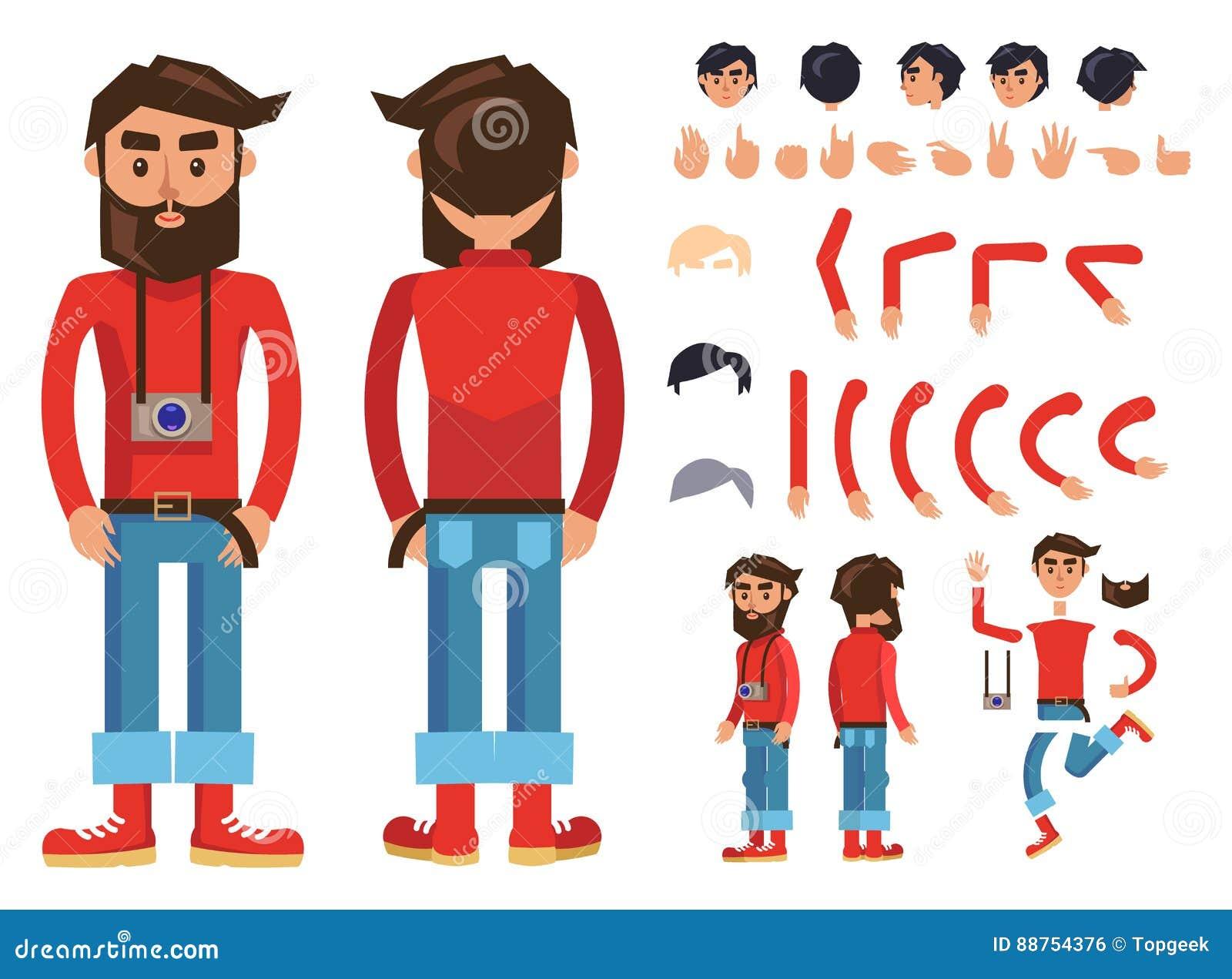Karikatur-Hippie-Mann-Charakter-Vektor-Erbauer