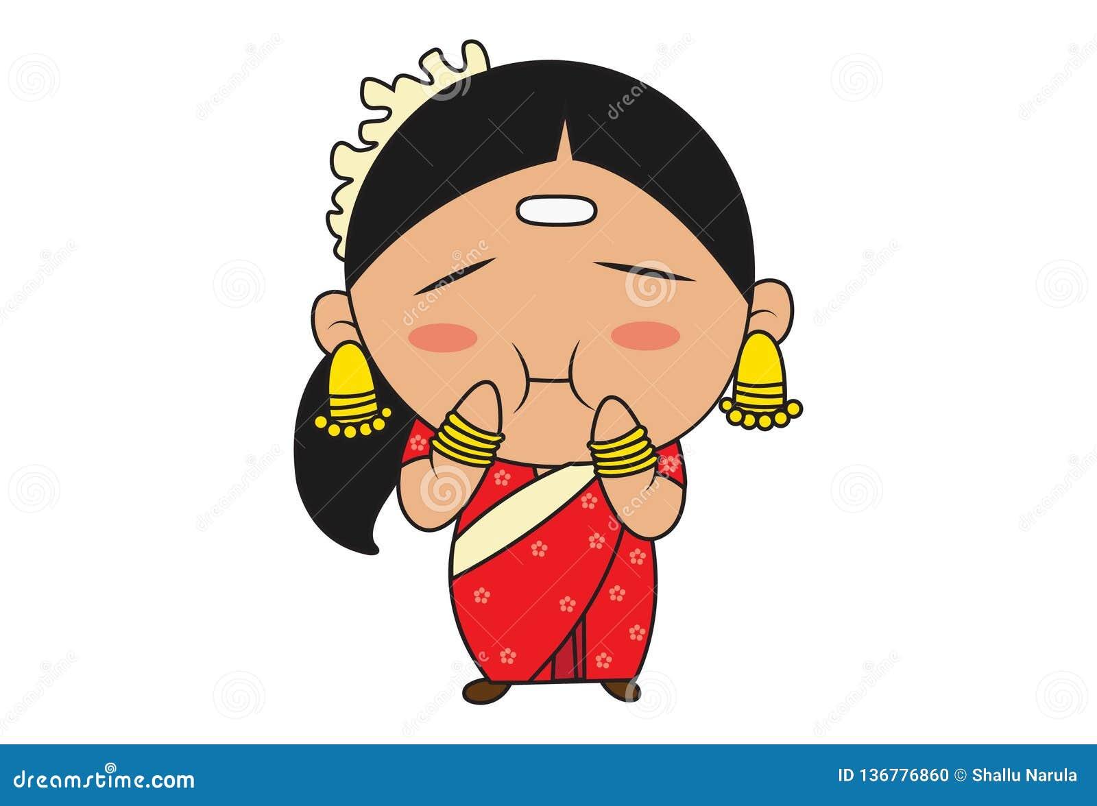 Karikatur-Illustration der indischen Südfrau