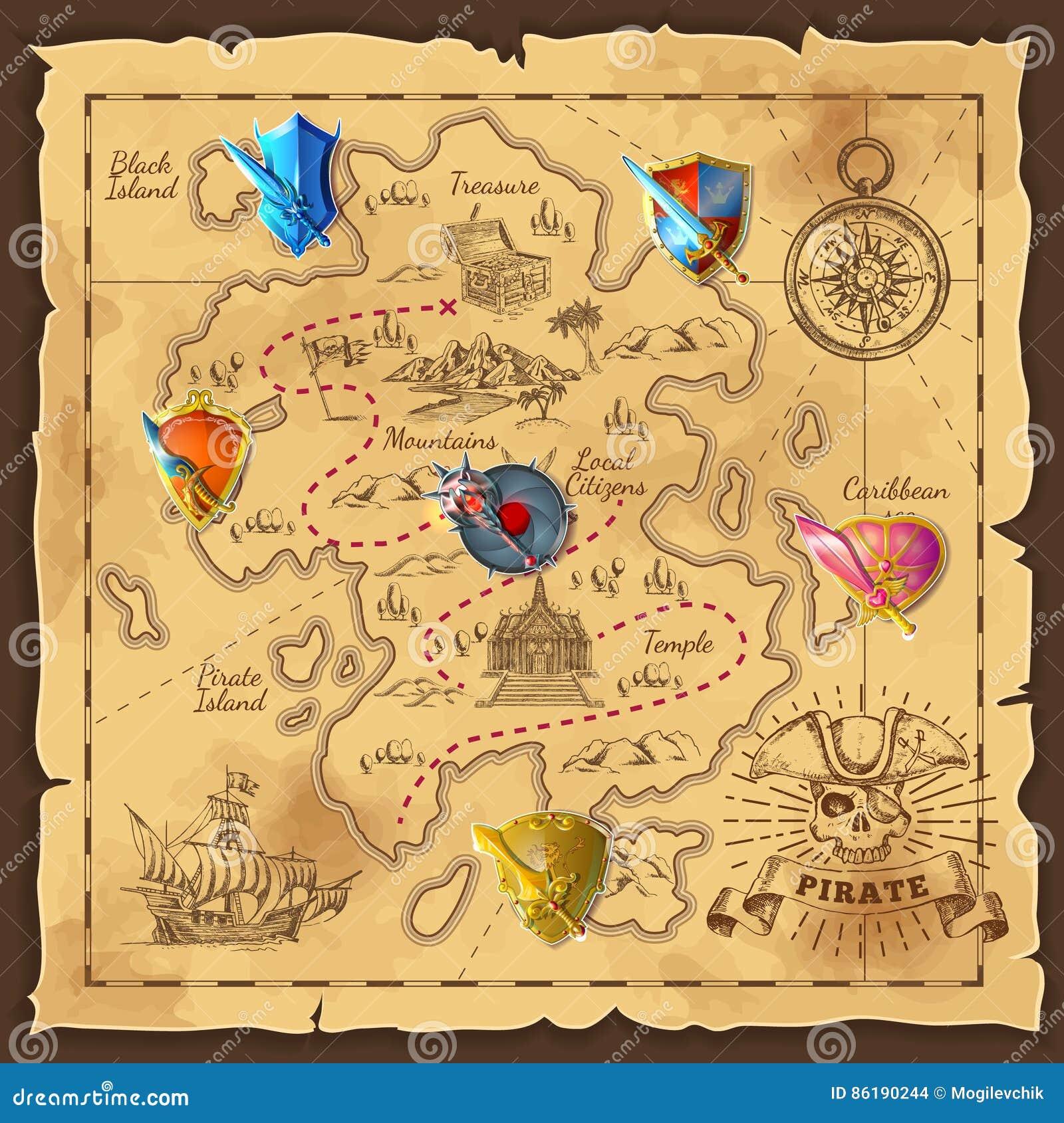 Karikatur-Insel-Karten-Schablone Vektor Abbildung - Illustration von ...