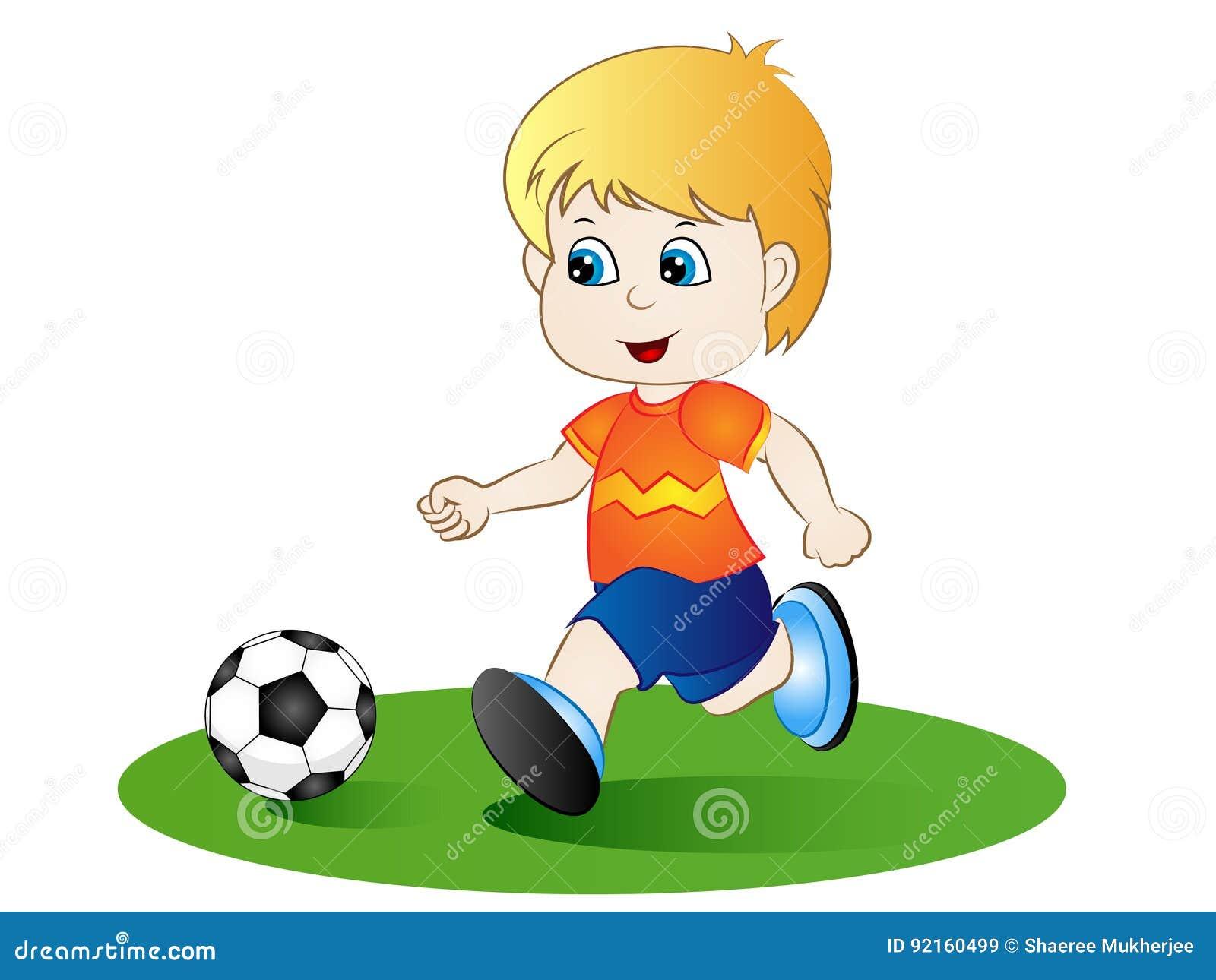 Karikatur Junge Der Fussball Spielt Vektor Abbildung