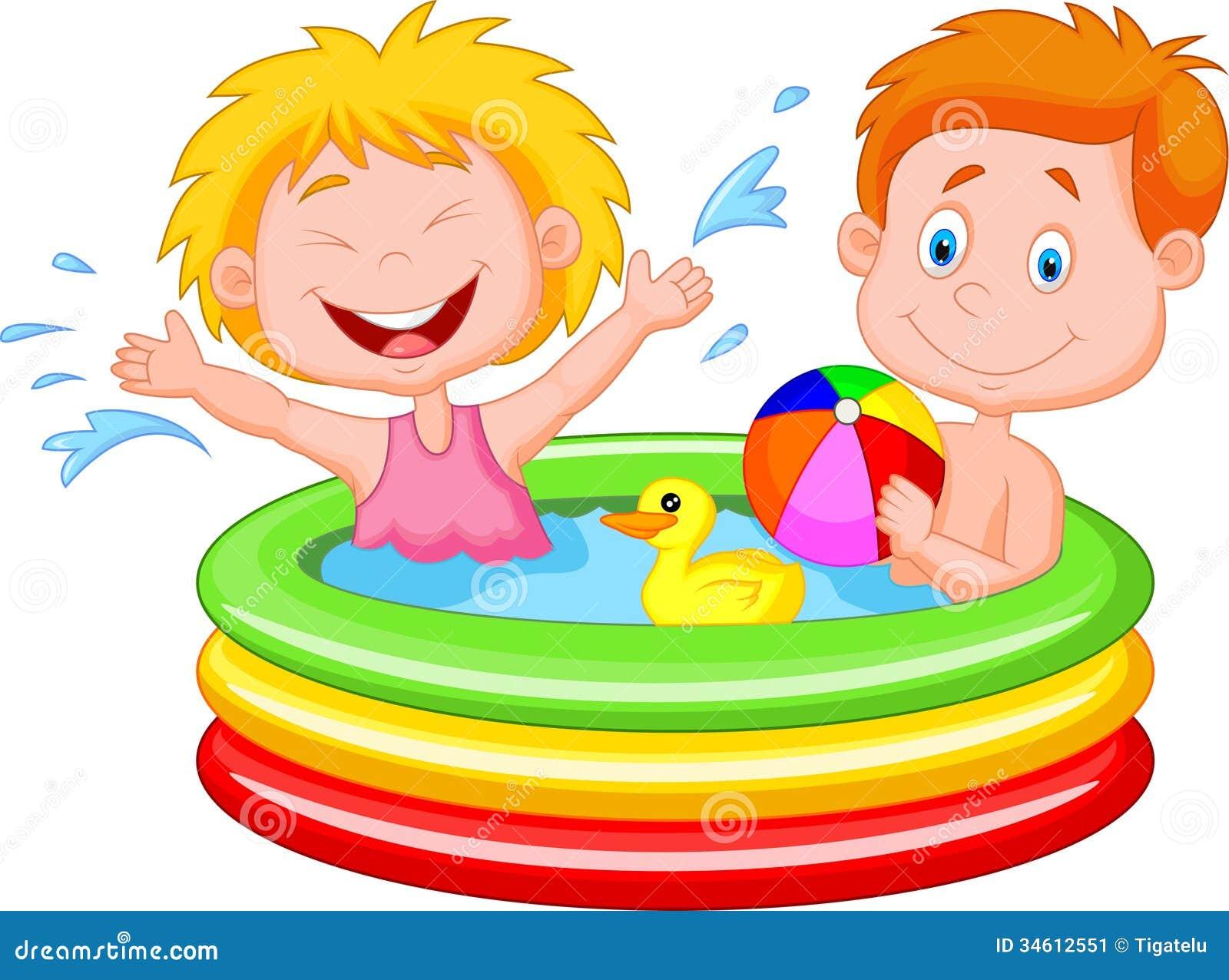 Karikatur Kinder Die In Einem Aufblasbaren Pool Spielen
