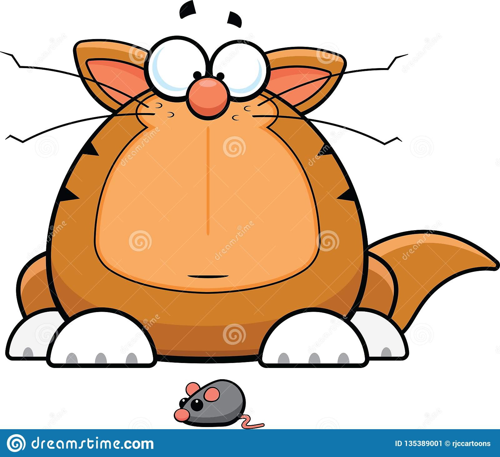 Karikatur lustige Cat With Toy Mouse
