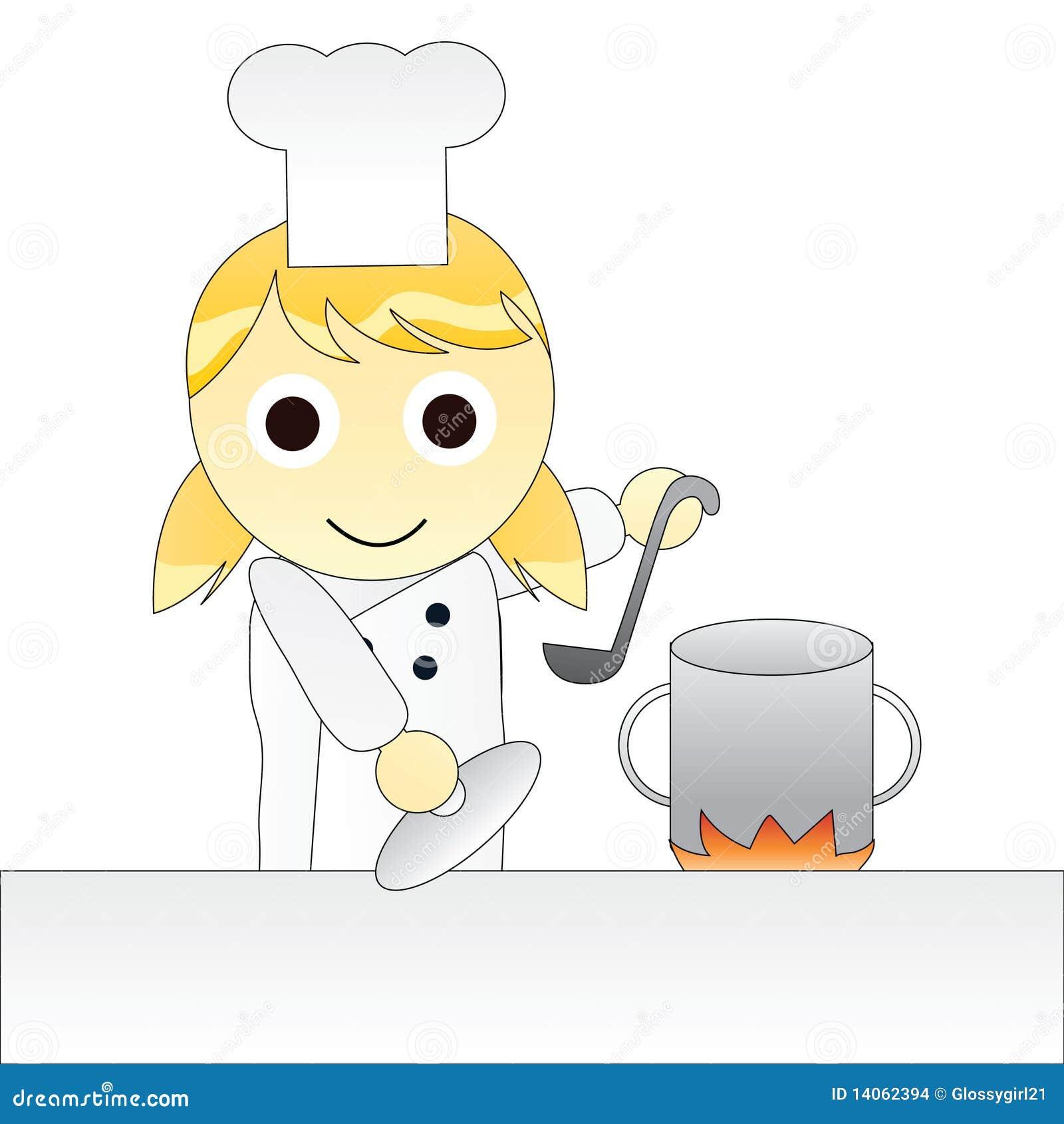 Karikatur-Mädchen-Chef-Kochen Vektor Abbildung - Illustration von ...