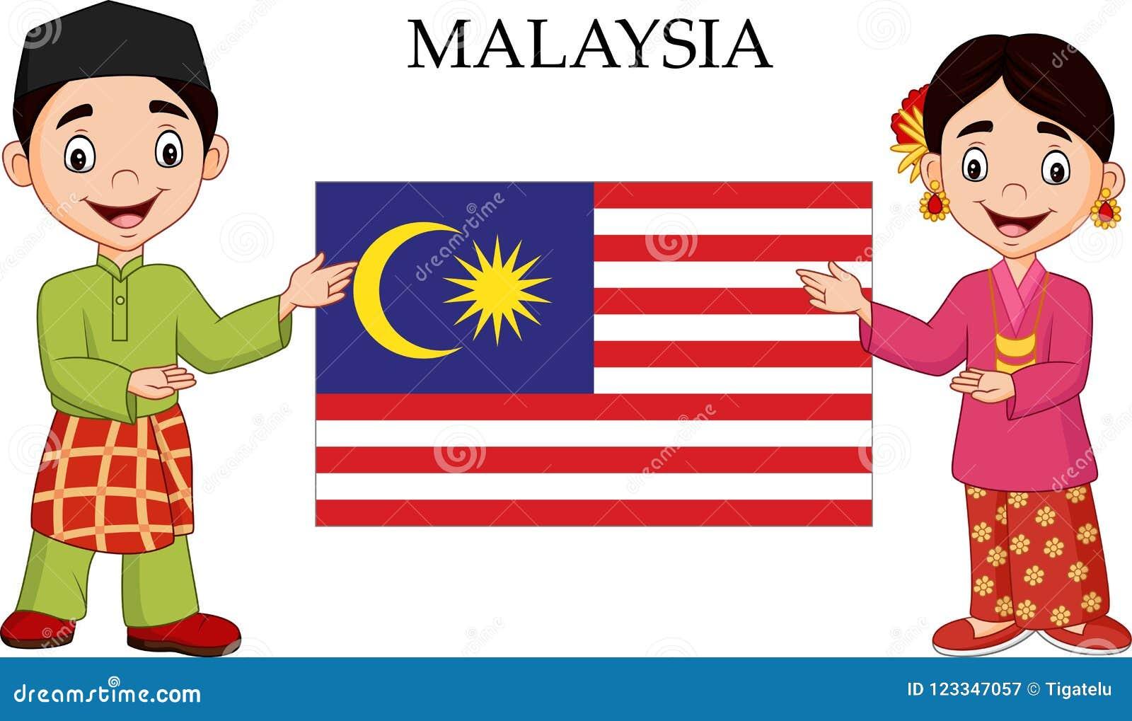 Karikatur-Malaysia-Paare, die traditionelles Kostüm tragen
