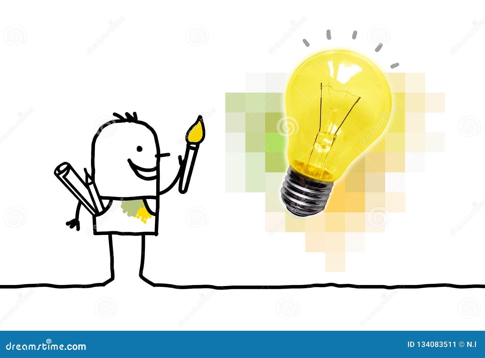 Karikatur-Maler Having eine neue Idee mit Glühlampe