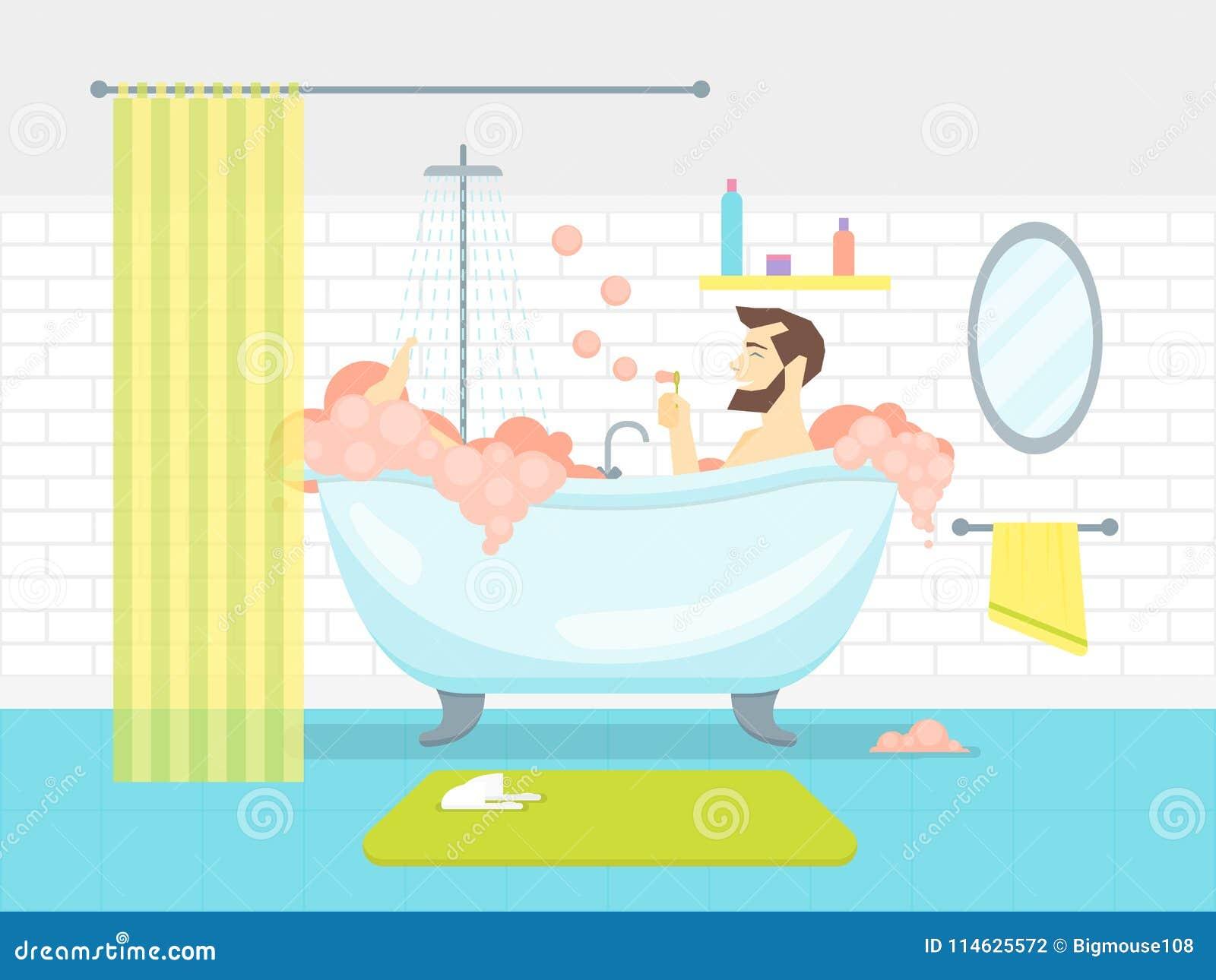 Karikatur Mann In Der Badezimmer Badewanne Mit Schaum Karten Plakat Vektor Vektor Abbildung Illustration Von Badewanne Karikatur 114625572