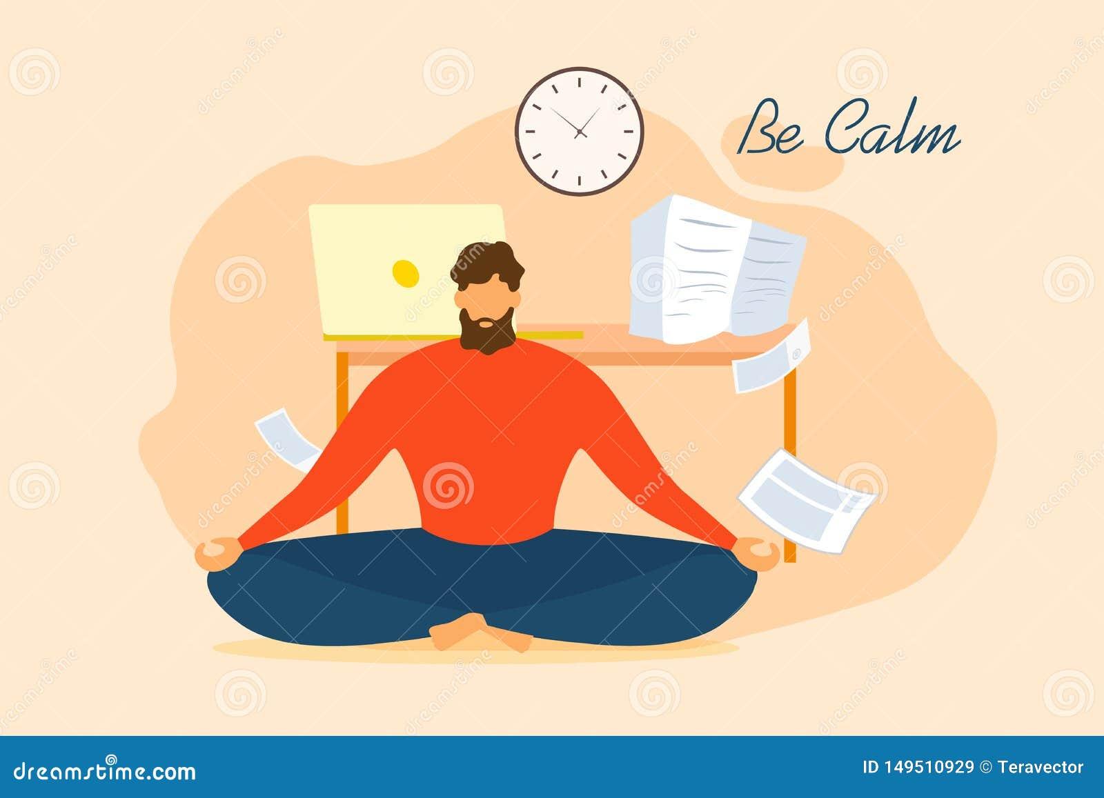 Karikatur-Mann ist Ruhe meditieren Büro-Entspannung