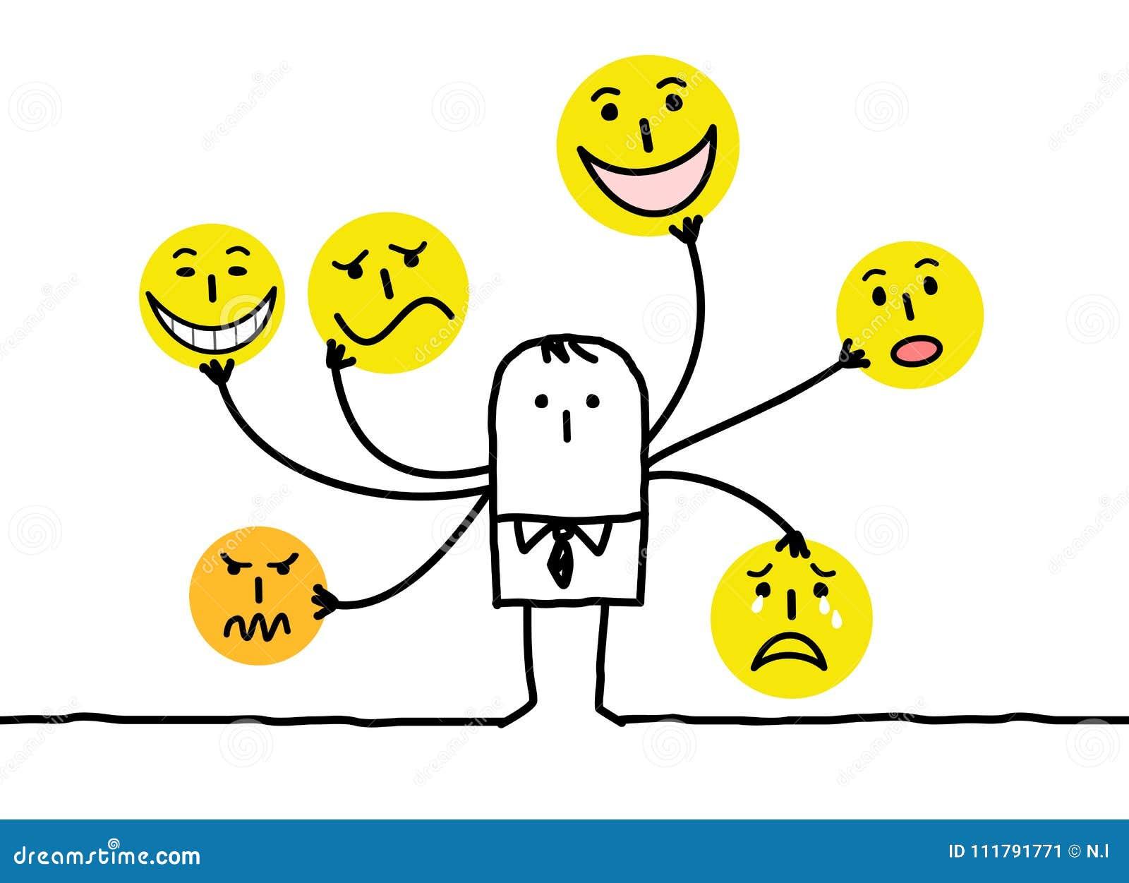 Karikatur-Mann mit multi Emoticon-Gesichtern