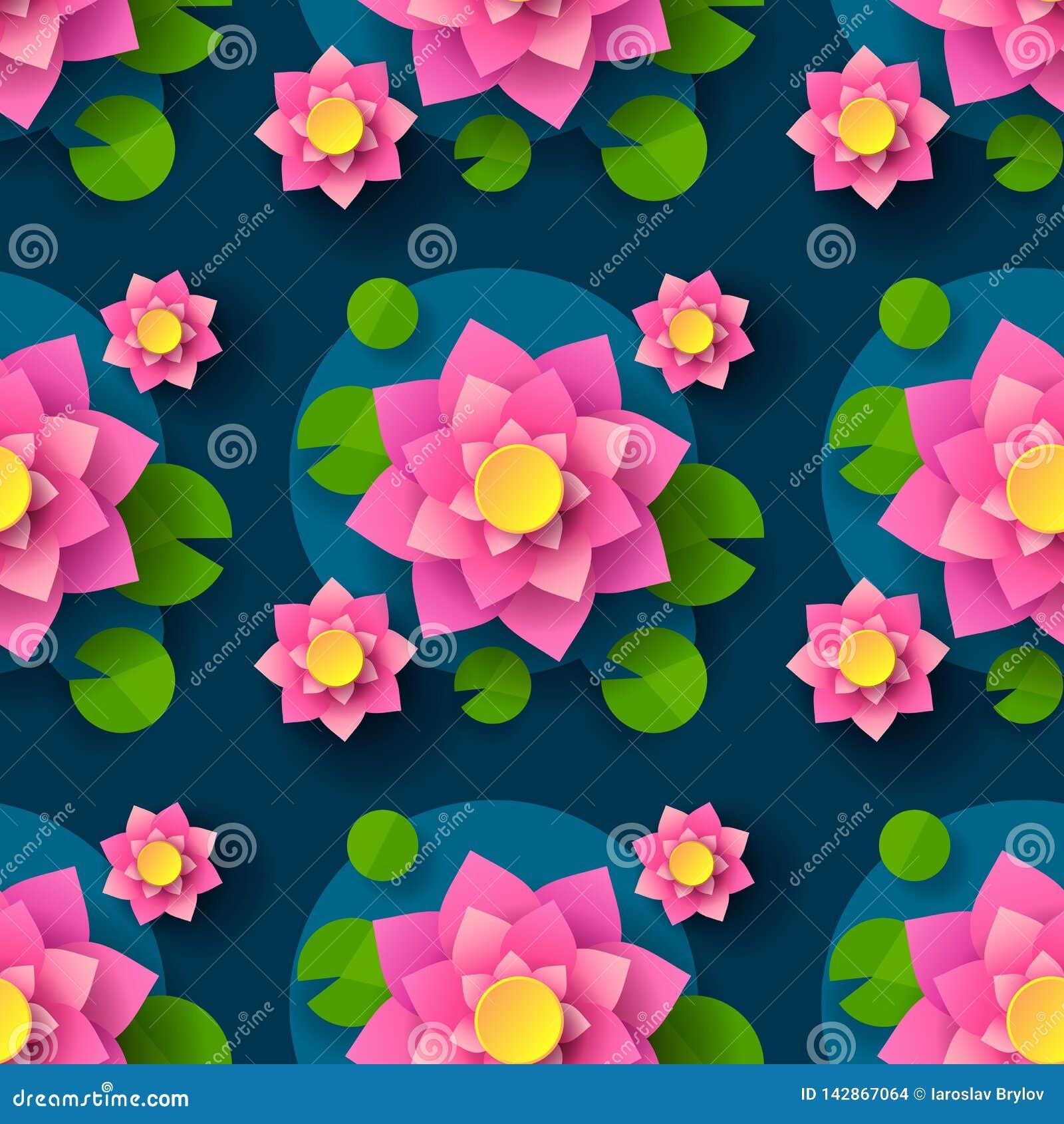 Karikatur nahtlose Lotus Background For Printing Design Dekoratives Element Abstrakter nahtloser Hintergrund Vektor-Drucken