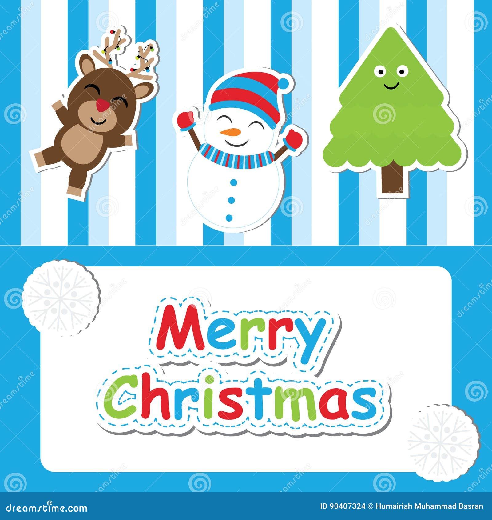 Karikatur Nette Rotwild, Schneemann Und Weihnachtsbaums Auf Blauem ...