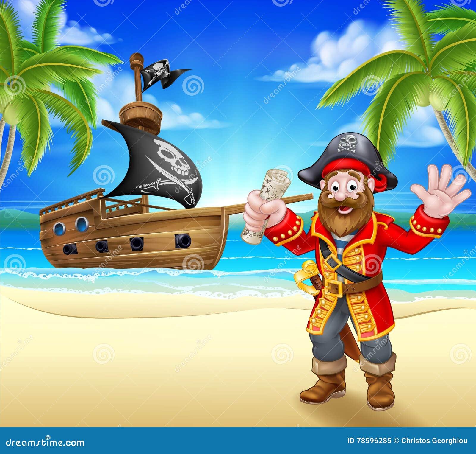 Karikatur-Pirat auf Strand