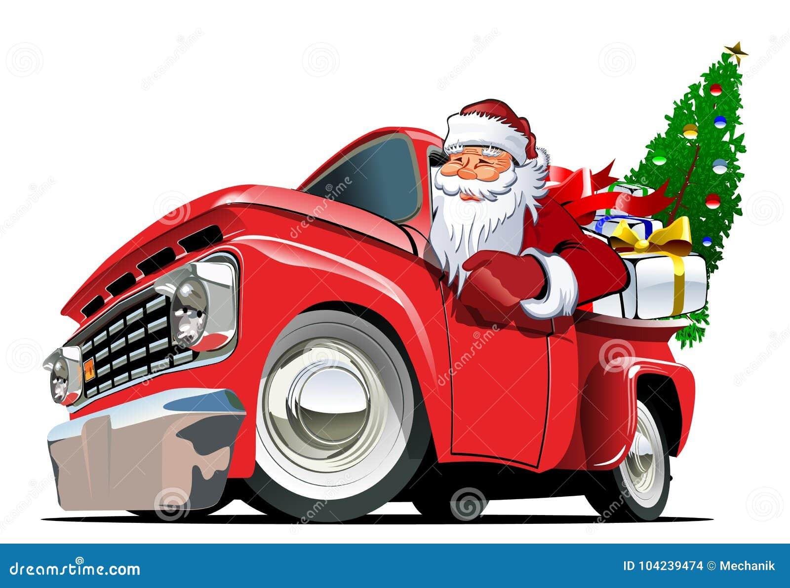Karikatur-Retro- Weihnachtsaufnahme Vektor Abbildung - Illustration ...