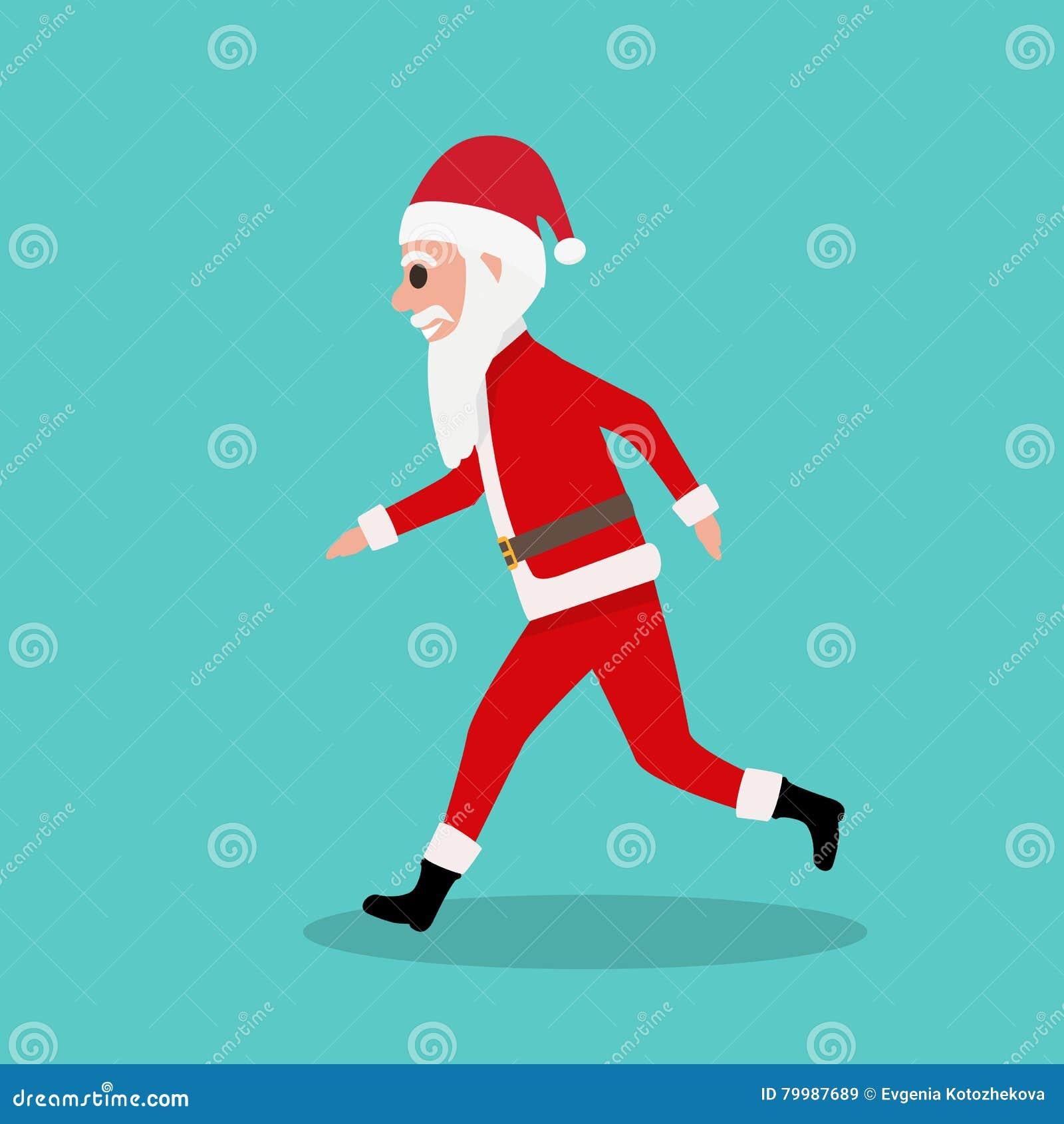 Karikatur-Santa Claus-Läufe Zu Den Kindern Am Weihnachten Vektor ...