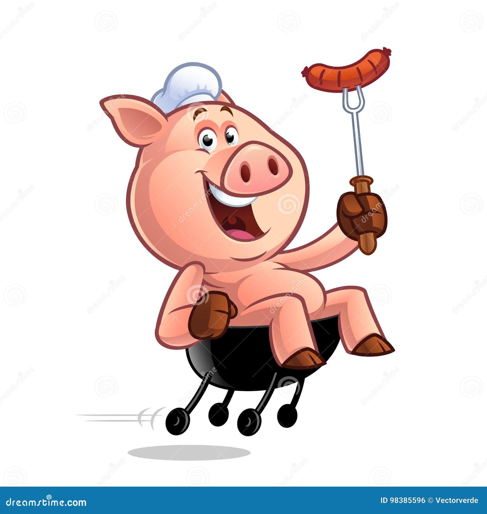 Karikatur schwein chef vektor abbildung illustration von
