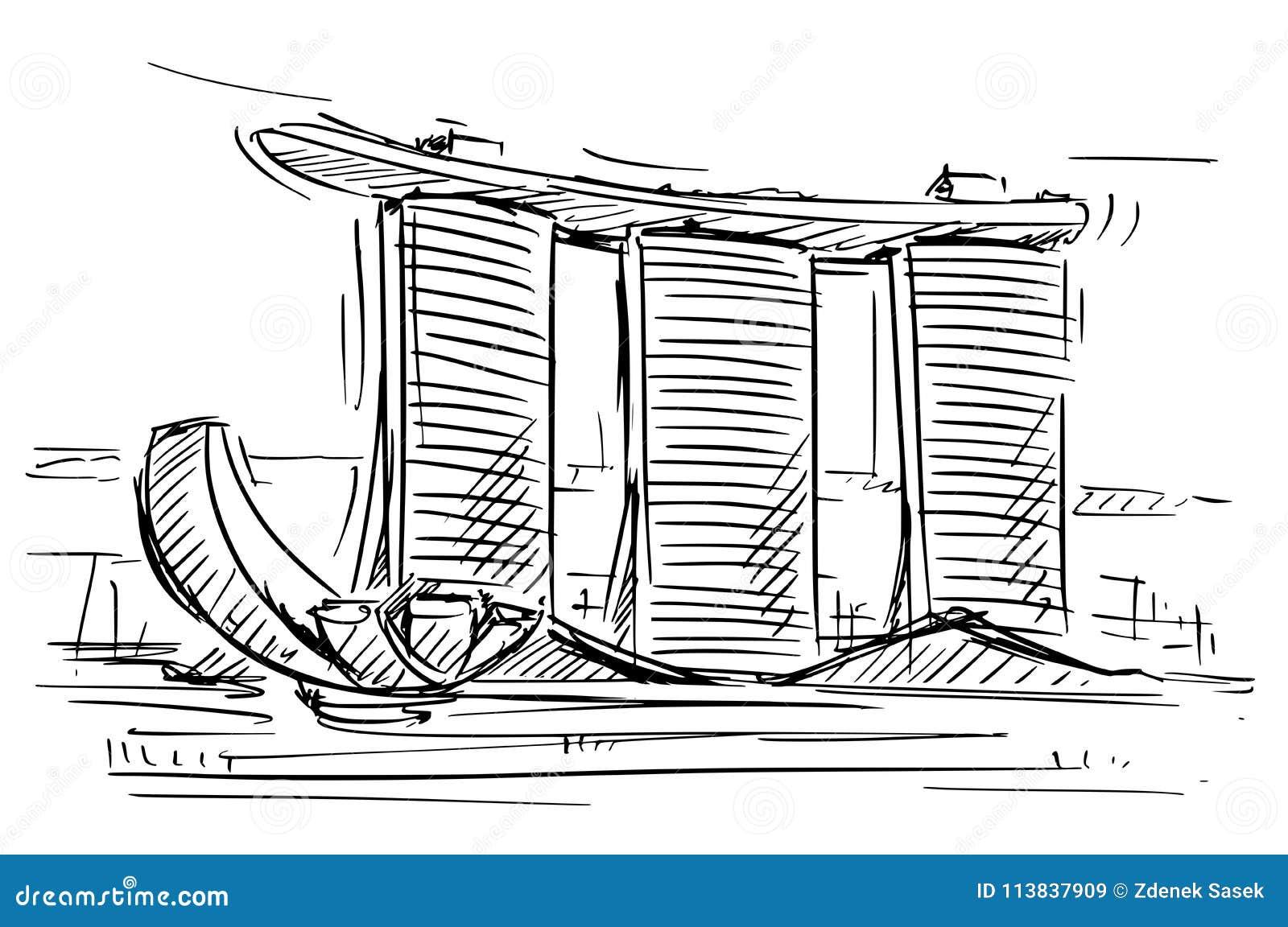 Karikatur-Skizze Marina Bay Sands, Singapur Vektor Abbildung ...