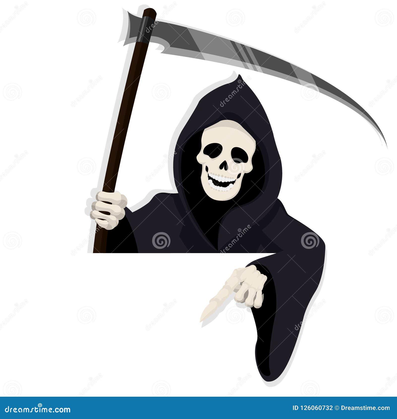 Karikatur-Todescharakter für Halloween-Anlagegut zeigend unten hinter Papier