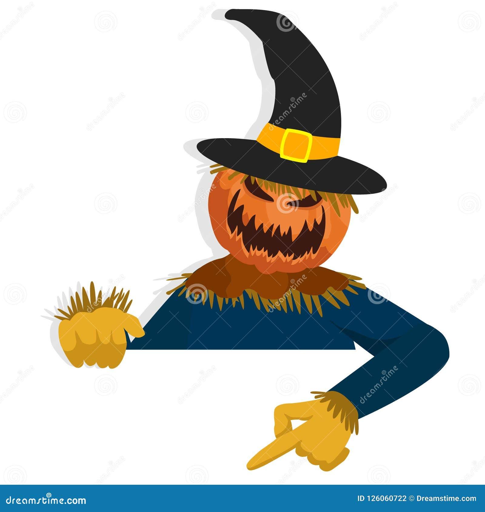 Karikatur-Vogelscheuchen-Charakter für Halloween-Anlagegut zeigend unten hinter Papier