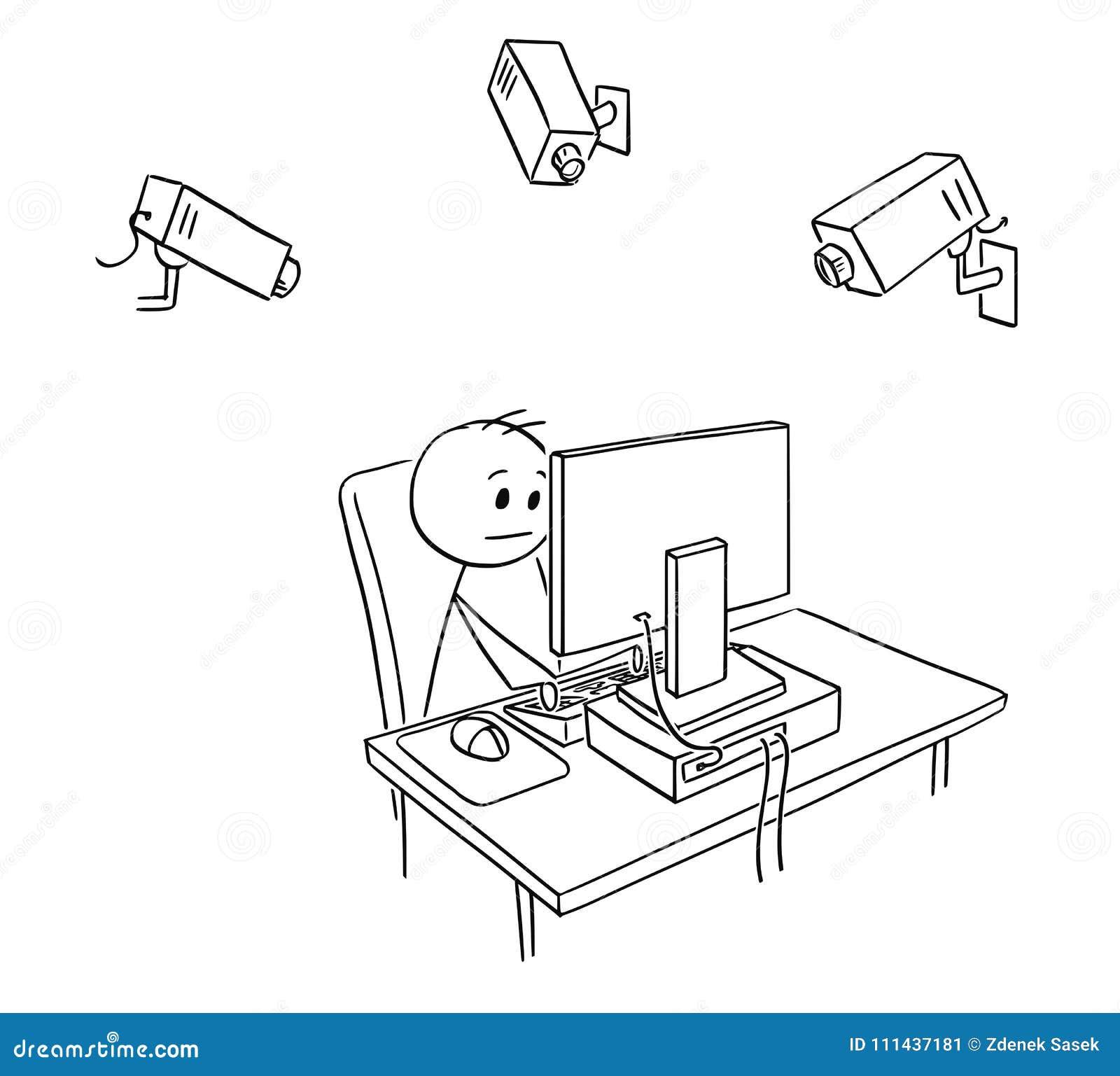 Karikatur Von Geschäftsmann Employee Under Camera Steuerung Durch
