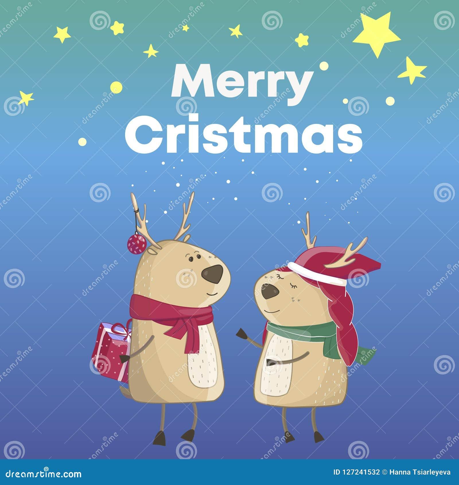Frohe Weihnachten Lustige Bilder.Karikatur Weihnachtsrotwild Text Frohe Weihnachten Prize