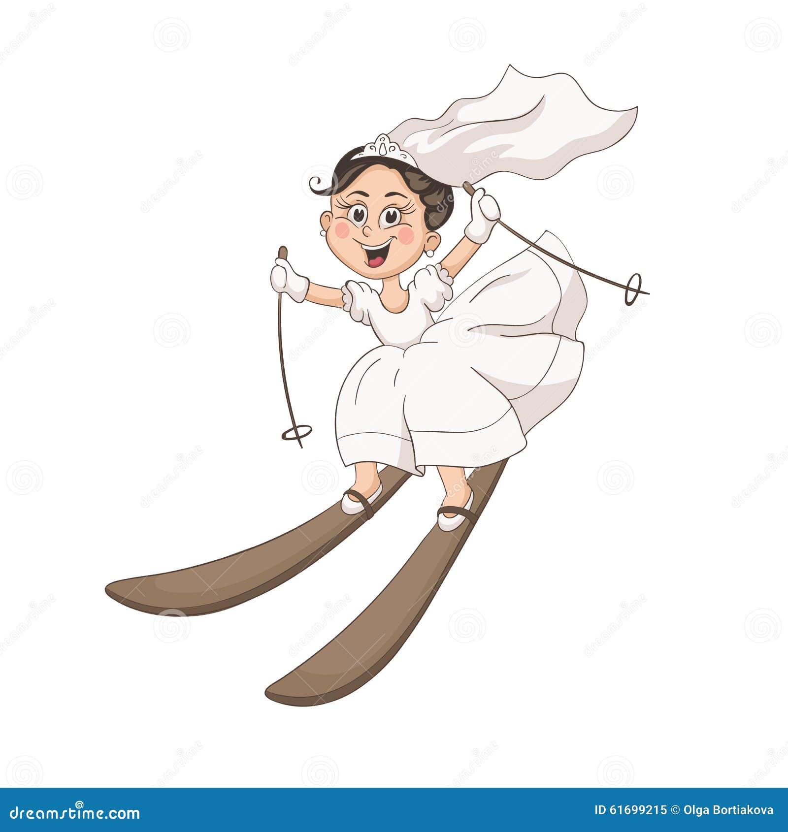 Karikaturbraut und -bräutigam