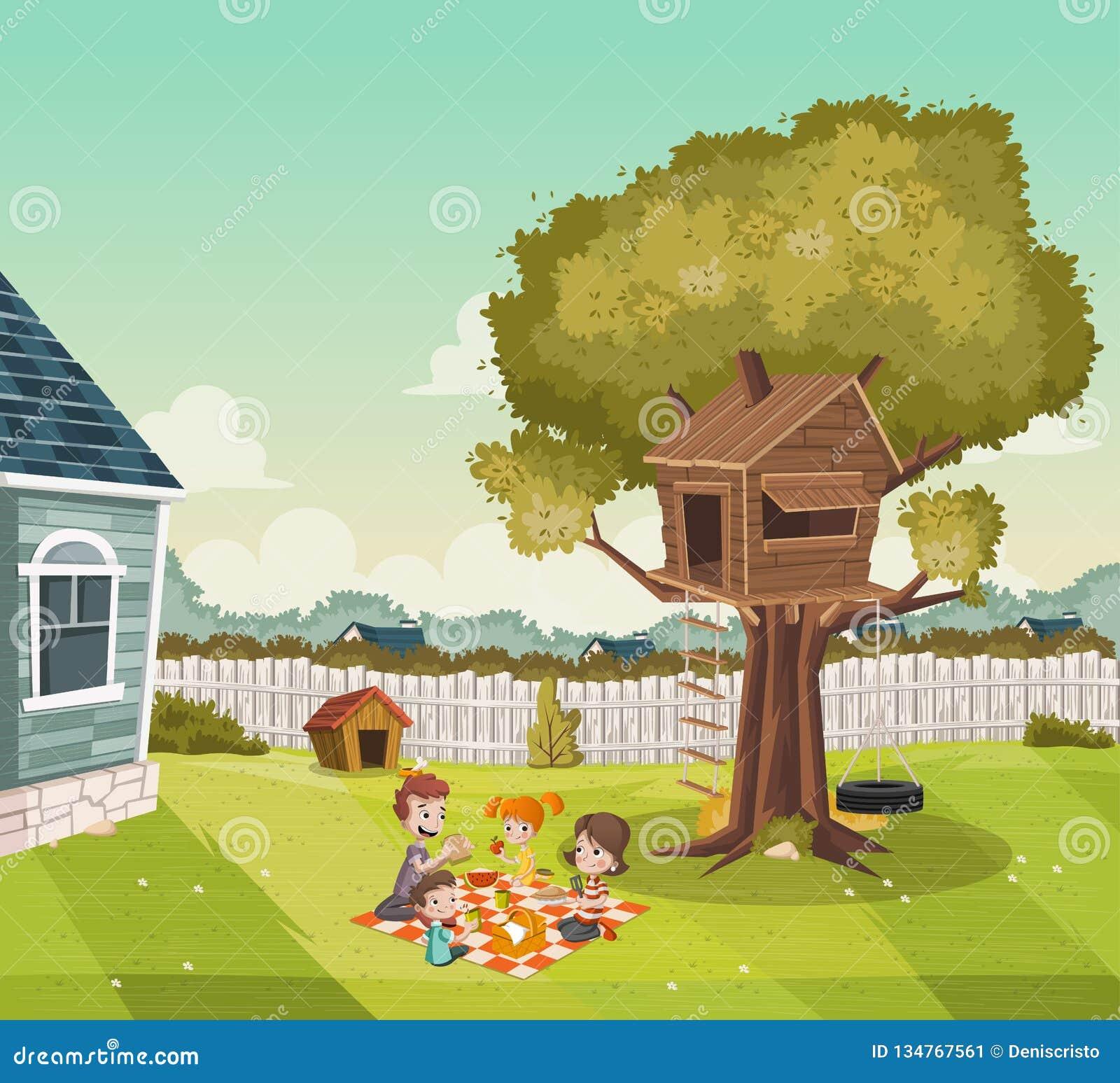 Karikaturfamilie, die Picknick auf dem Hinterhof eines bunten Hauses in der Vorortnachbarschaft hat Baumhaus auf dem Hinterhof