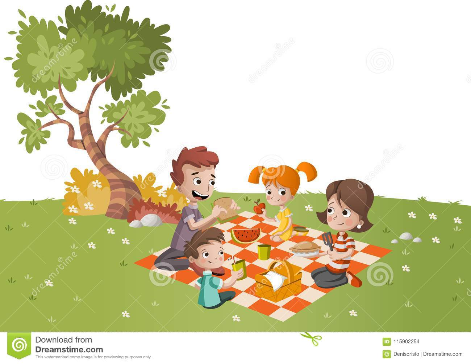 Karikaturfamilie, die Picknick im Park an einem sonnigen Tag hat