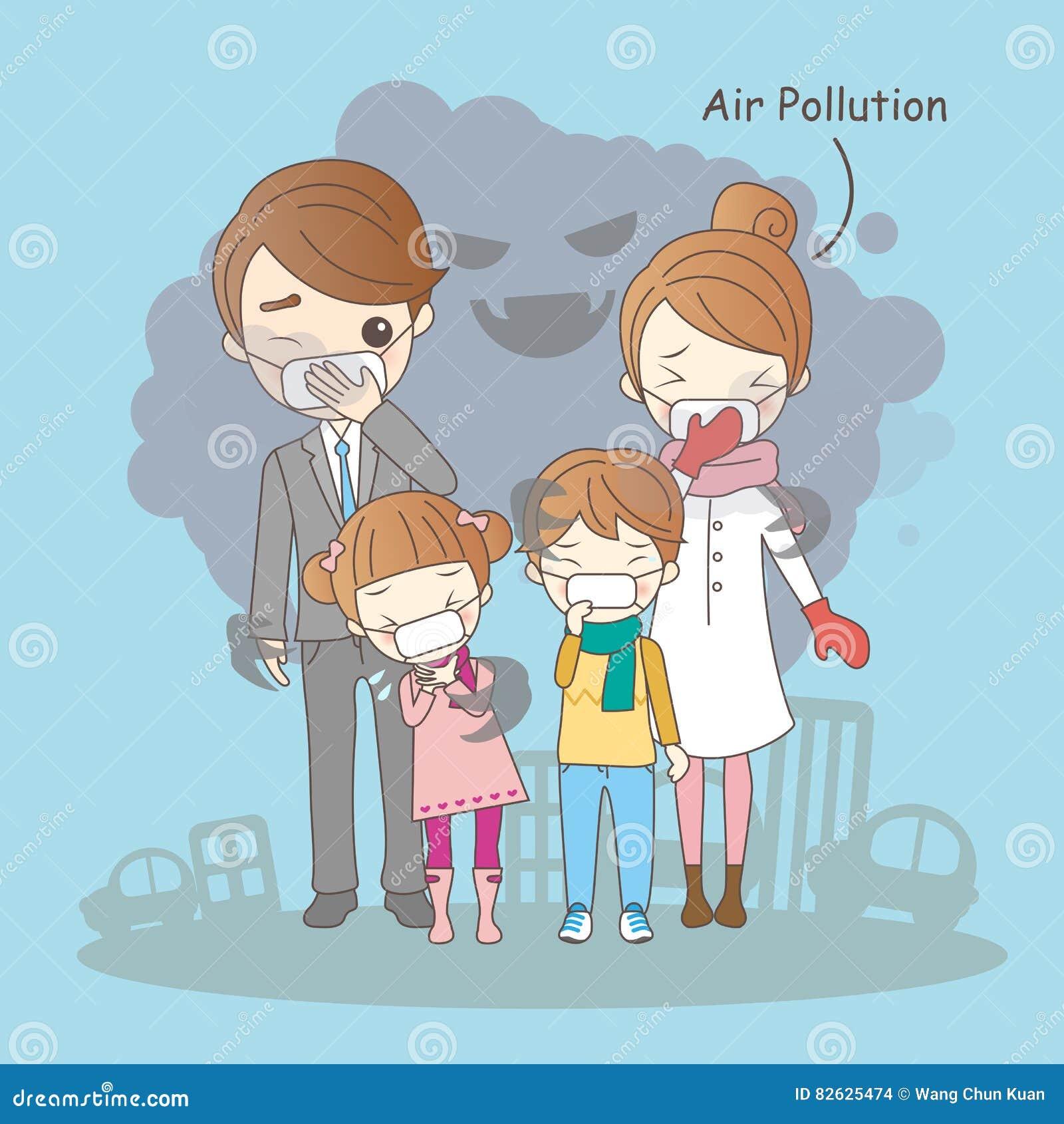 Karikaturfamilie mit Luftverschmutzung