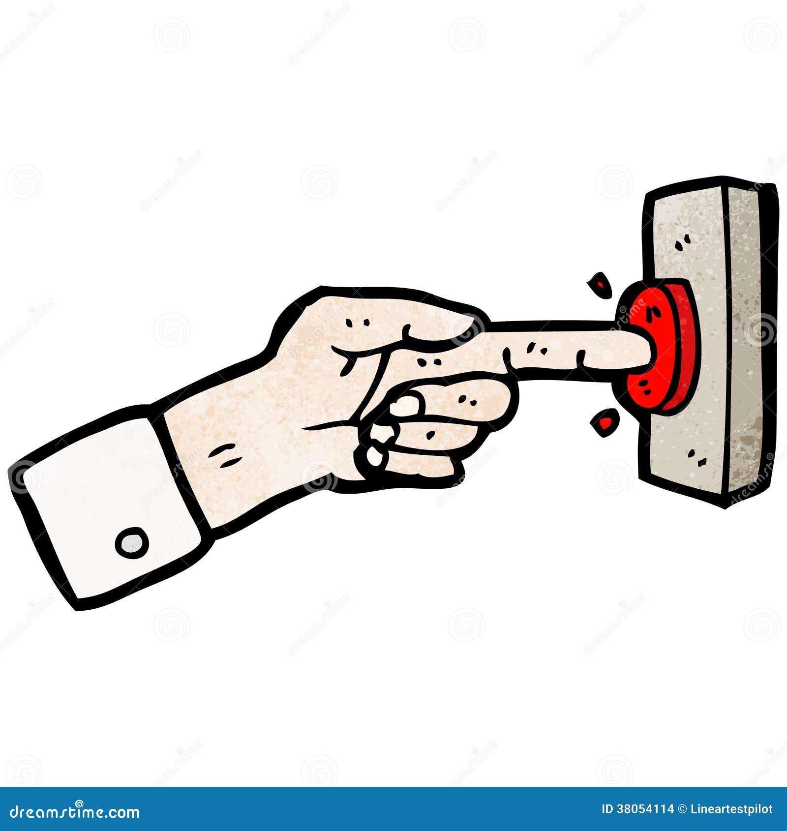Karikaturfinger, der Knopf drückt