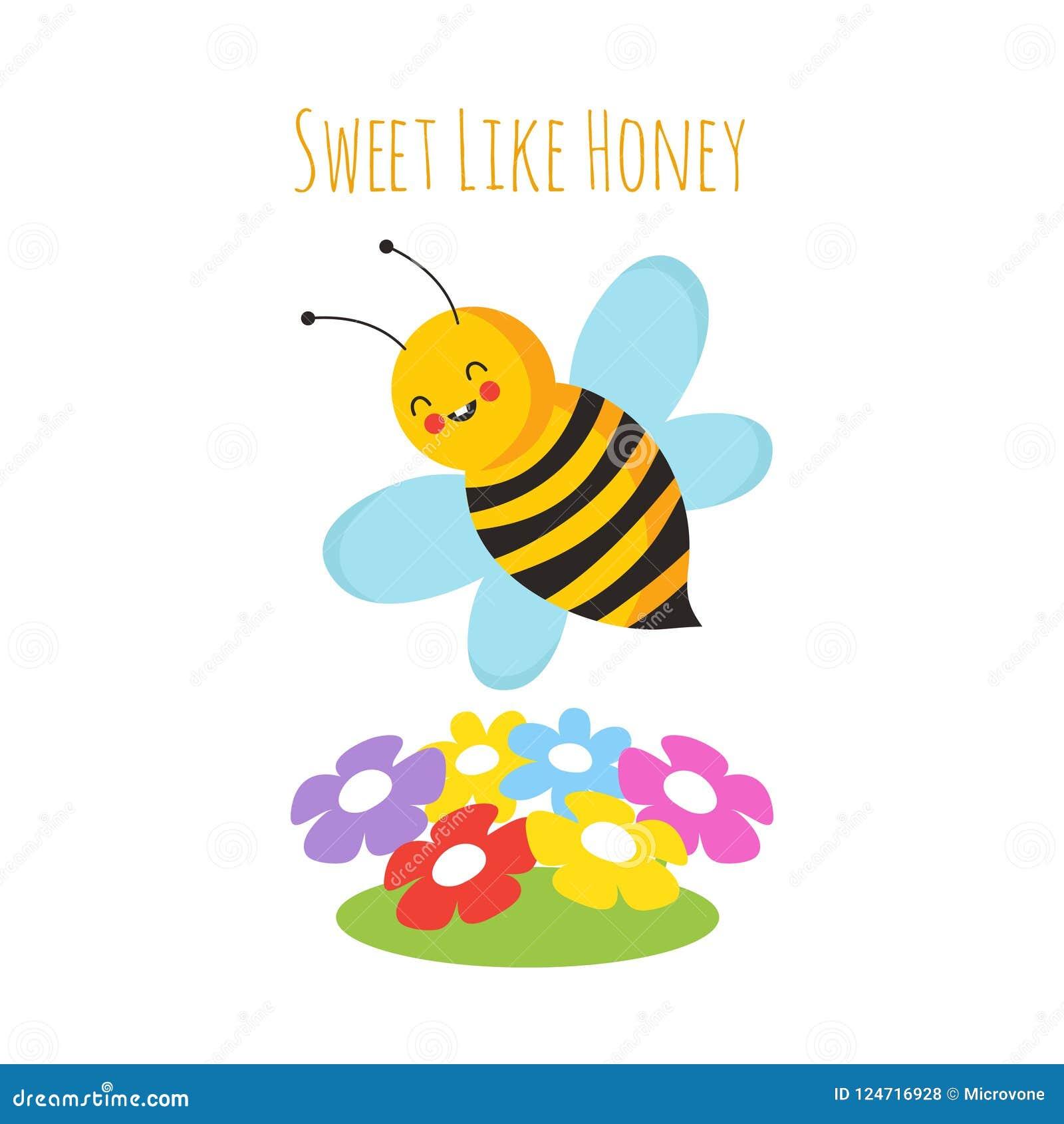 karikaturfliegenbienen nette biene und blume
