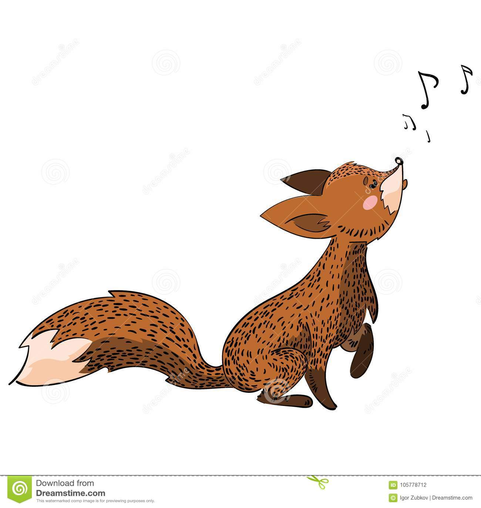 Karikaturfuchs Singt Stilisierter Fuchs Vektorillustration Für